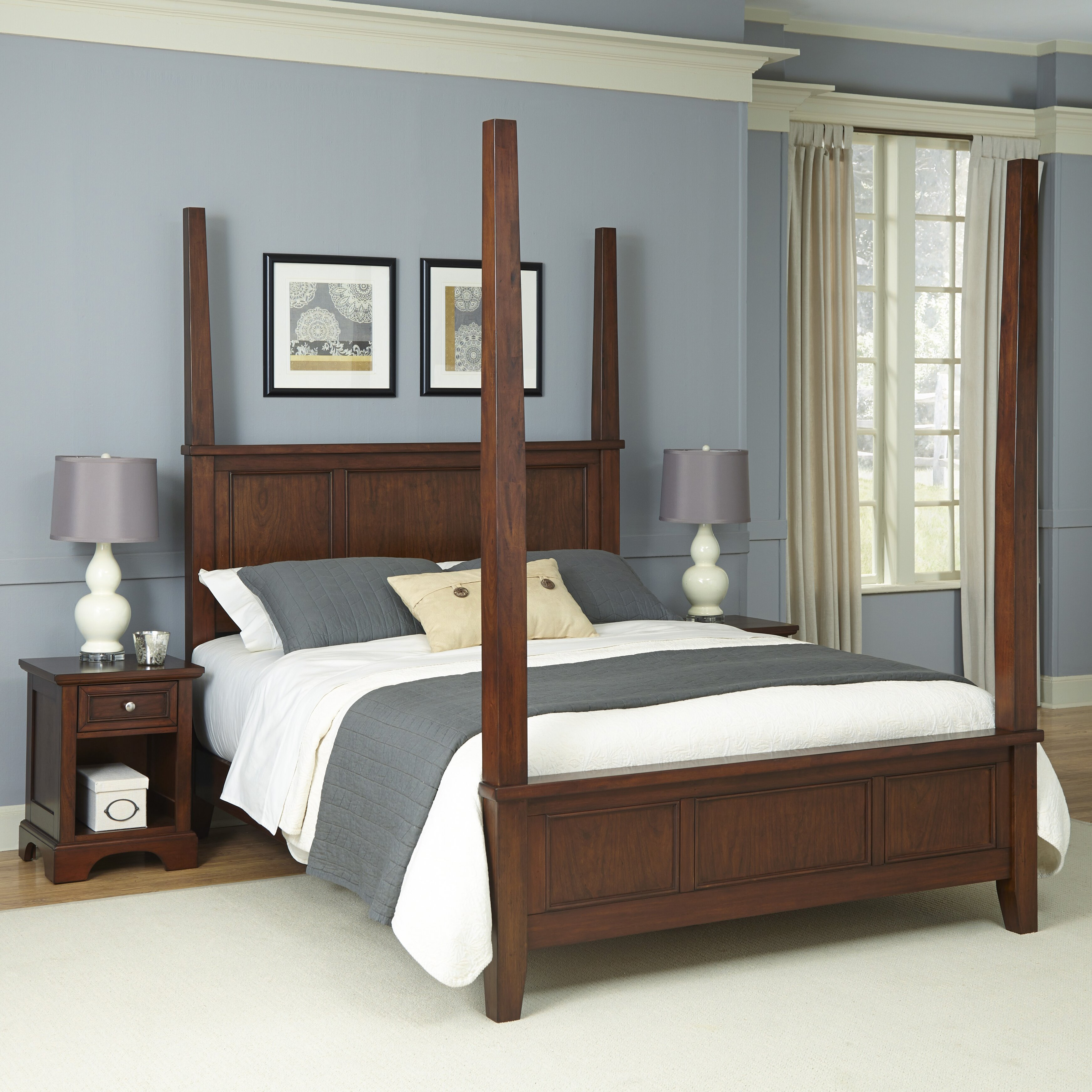 home styles chesapeake four poster 3 piece bedroom set