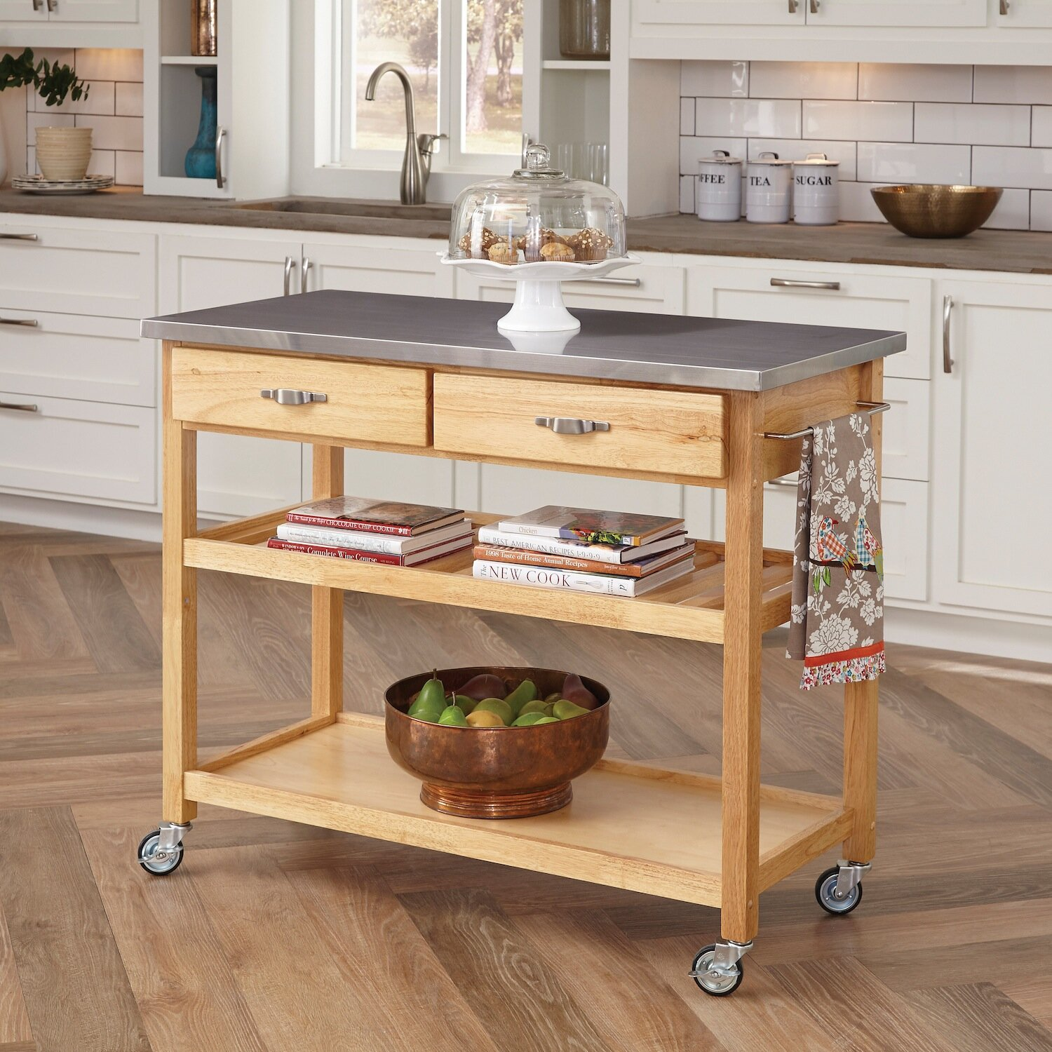 Home styles kitchen island with stainless steel top for Homestyles com