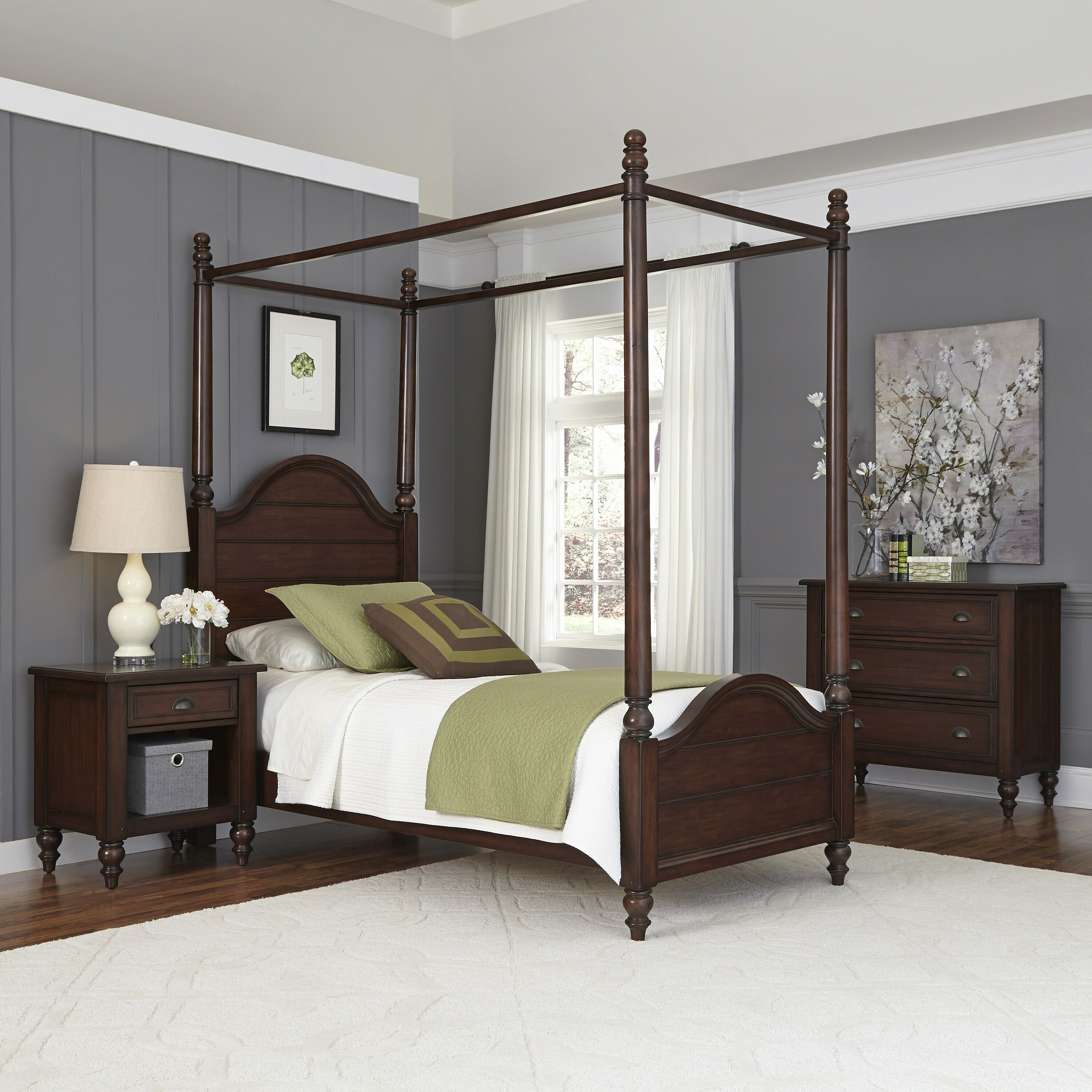 home styles country comfort canopy 3 piece bedroom set reviews wayfair