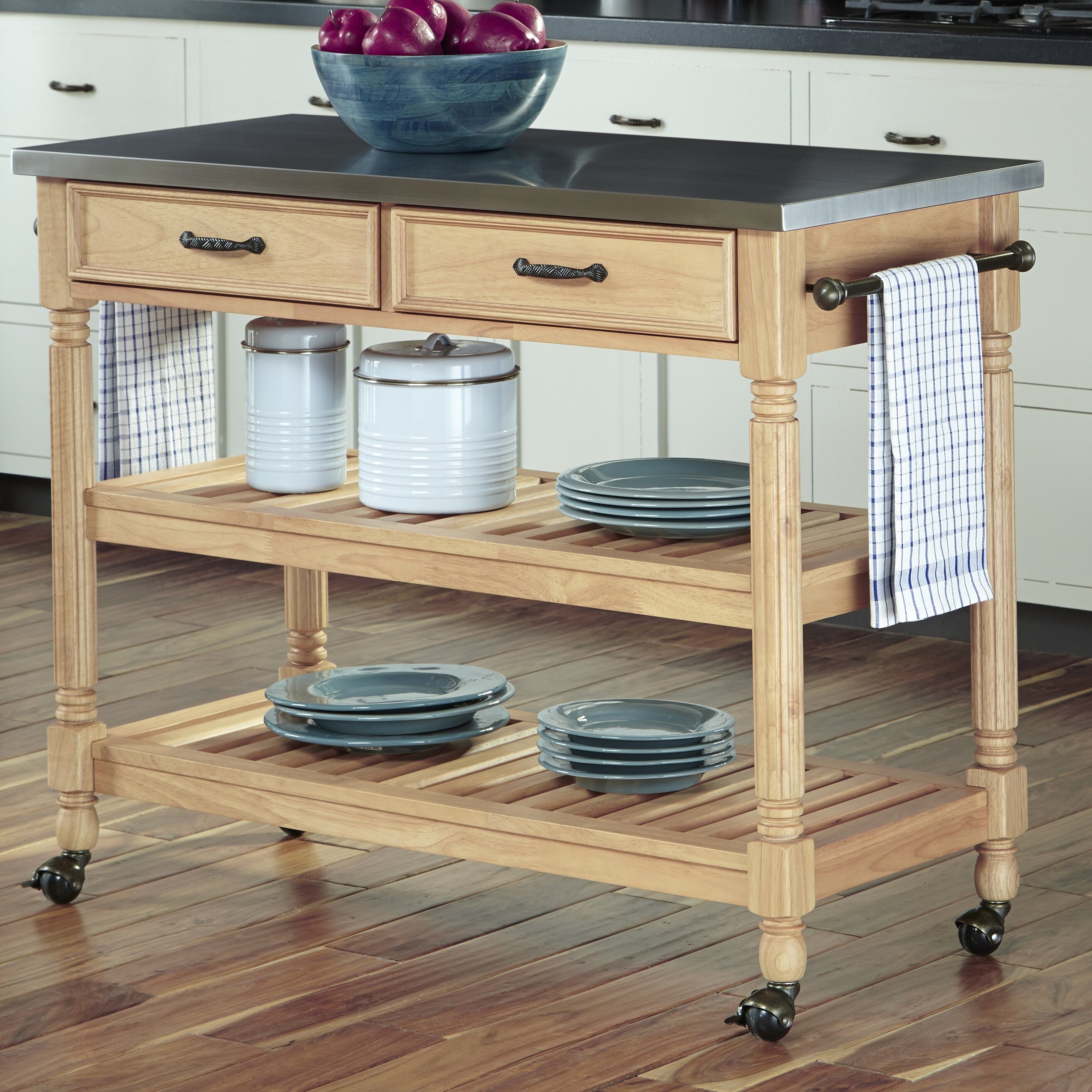 Home Styles Savannah Kitchen Cart With Stainless Steel Top