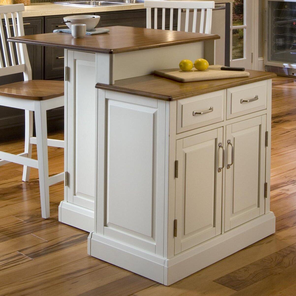 Home Styles Woodbridge 3 Piece Kitchen Island Set with