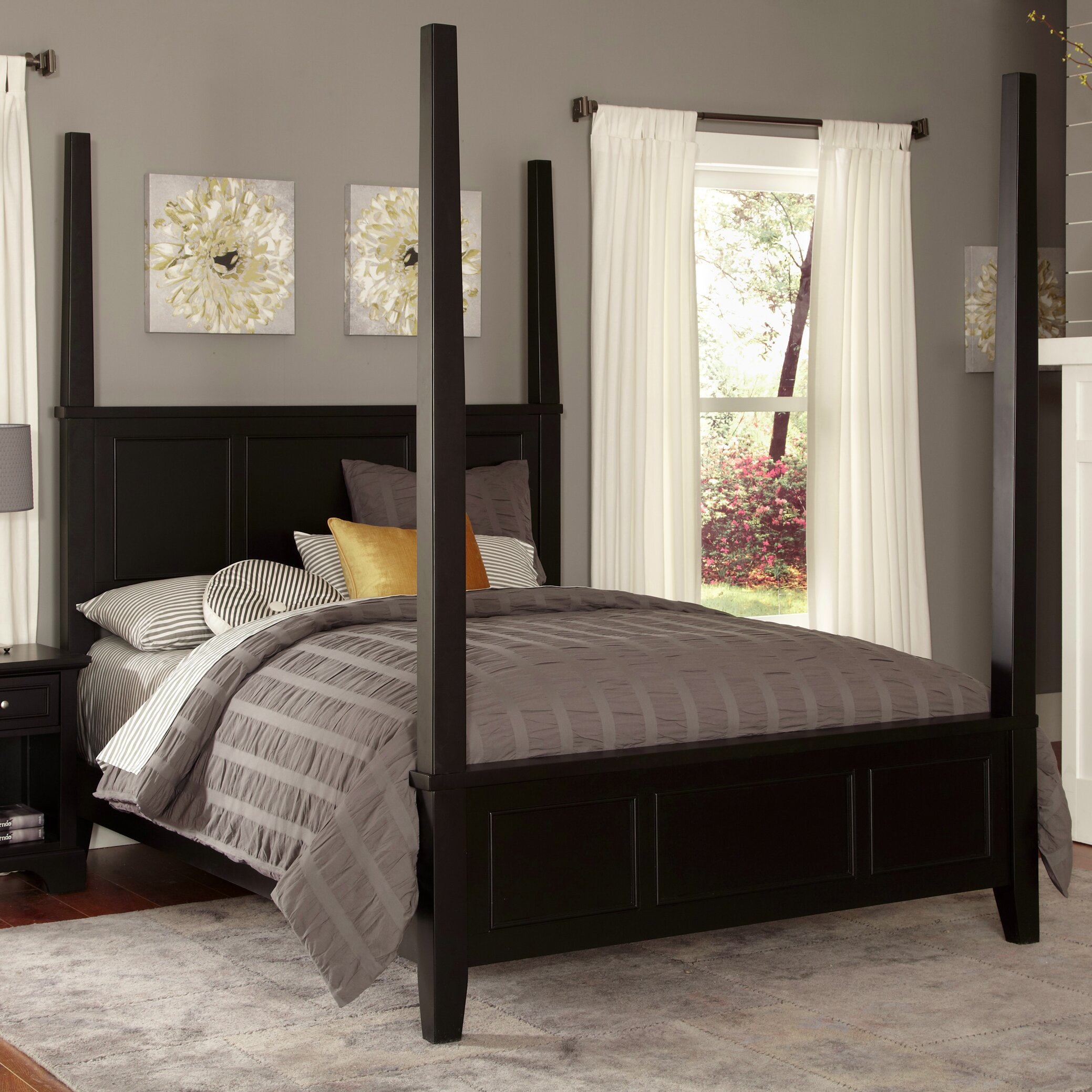 home styles bedford four poster bed reviews wayfair. Black Bedroom Furniture Sets. Home Design Ideas