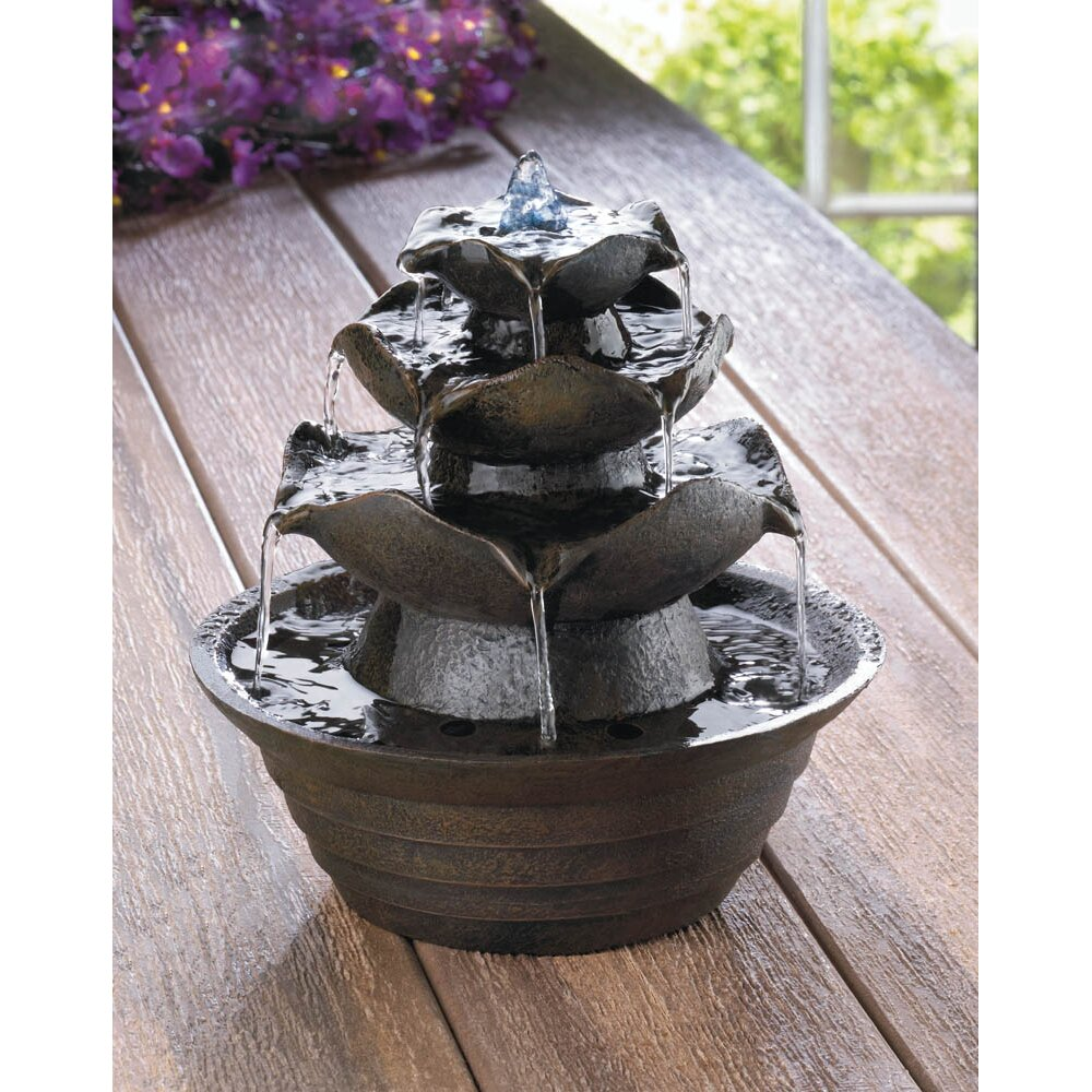 Zingz Thingz Lotus Tabletop Fiberglass Water Fountain