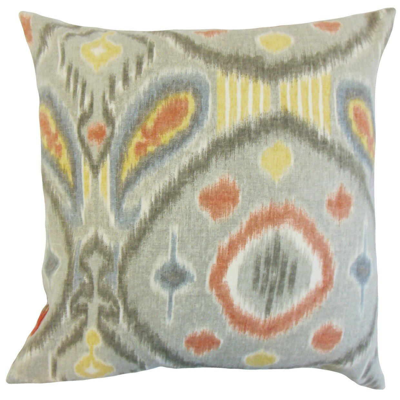 The Pillow Collection Janvier Ikat Linen Throw Pillow & Reviews Wayfair