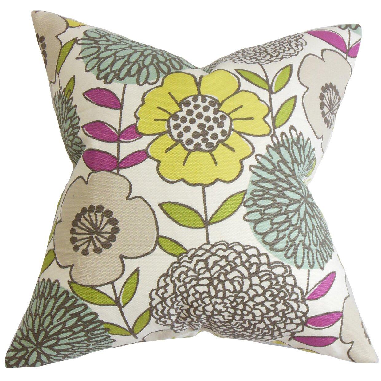 Wayfair Green Throw Pillows : The Pillow Collection Veruca Floral Cotton Throw Pillow & Reviews Wayfair