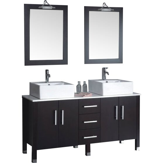 Cambridge Plumbing Silkwood 59 Double Bathroom Vanity Set: silkwood glass