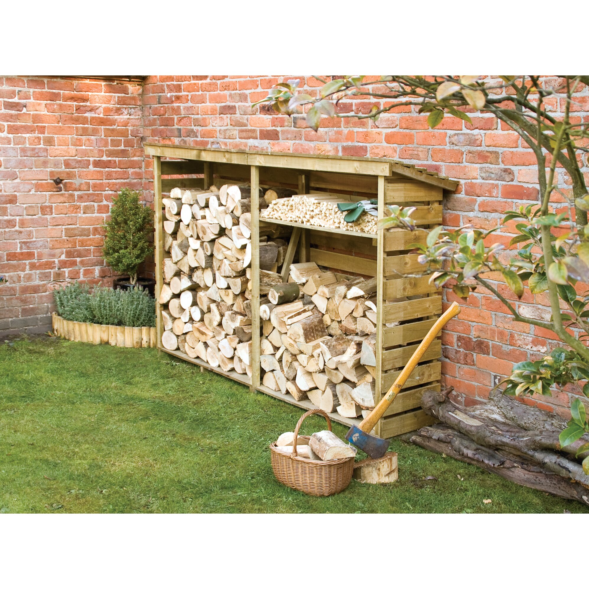 Rowlinson 7 5 ft x 1 8 ft wooden log store reviews for Garden shed homebase