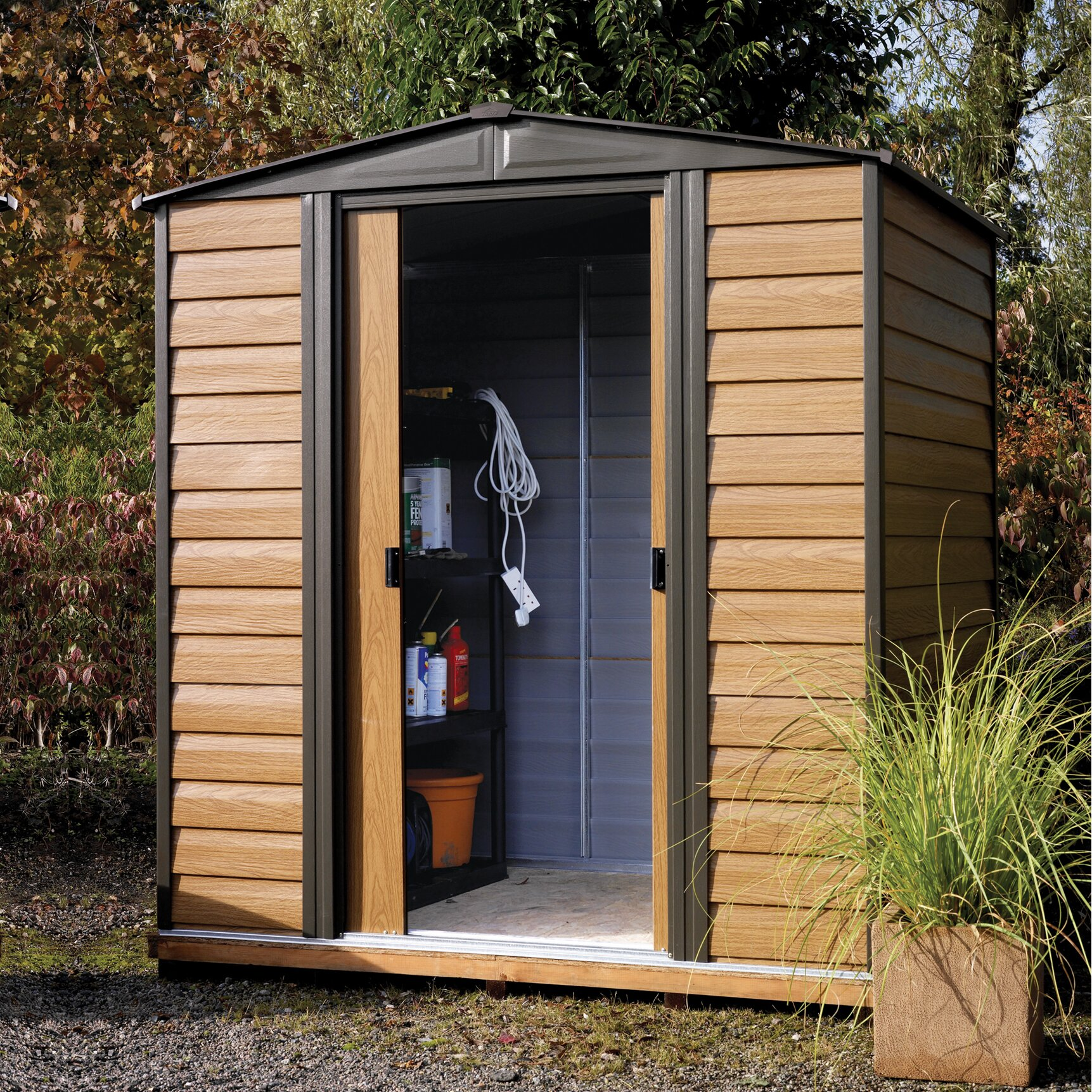 Rowlinson 10 x 12 metal storage shed reviews wayfair uk for Used metal garden sheds for sale