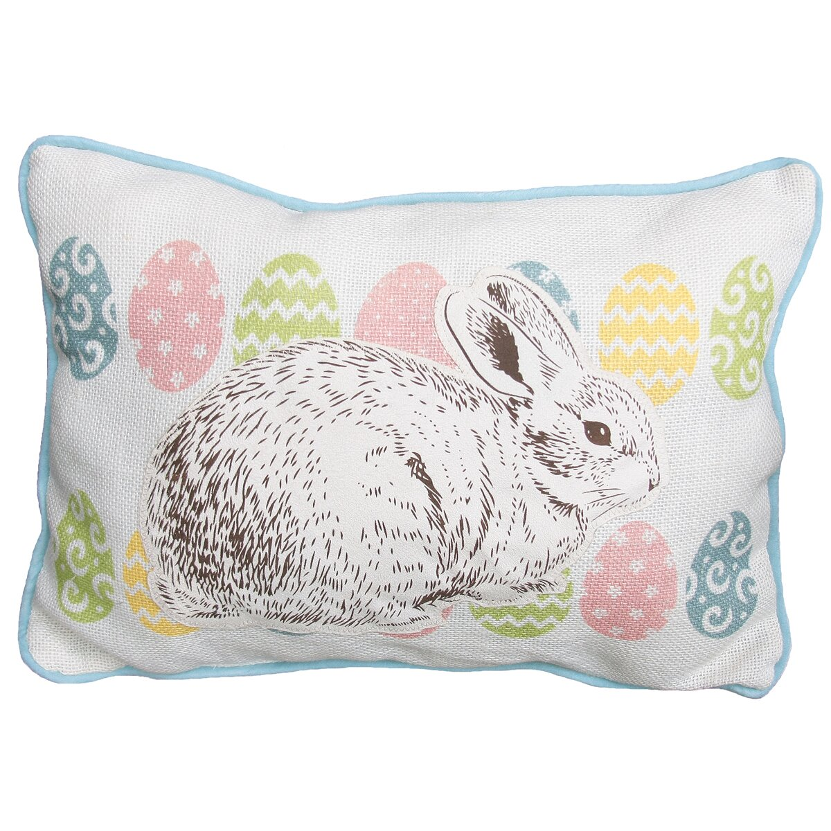 Xia Home Fashions Bunny Eggs Printed Applique Easter Decorative Jute Lumbar Pillow & Reviews ...