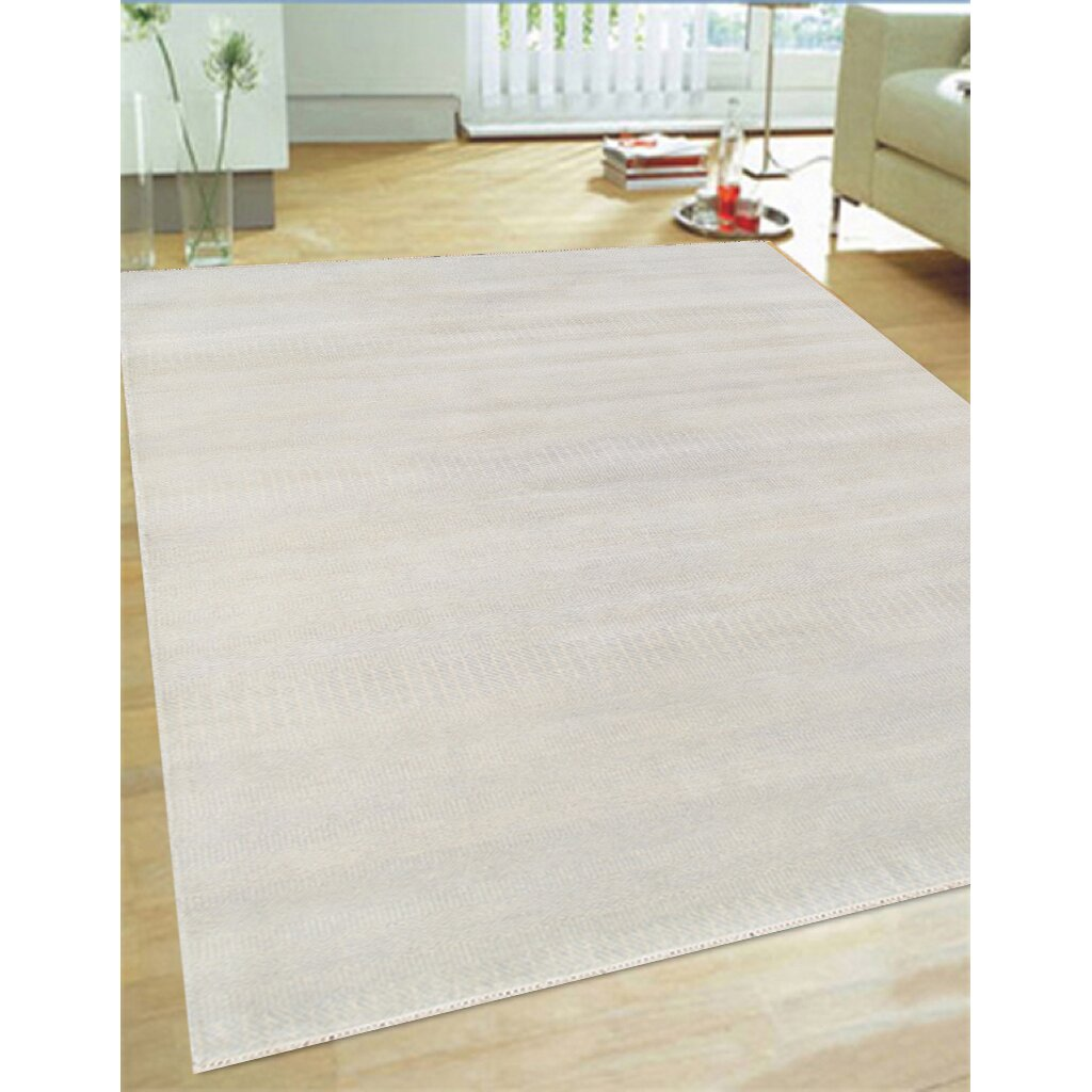 Pasargad Ny Persian Hand Knotted Wool Light Blue Ivory: Pasargad Hand-Knotted Wool And Bamboo Silk Ivory Area Rug