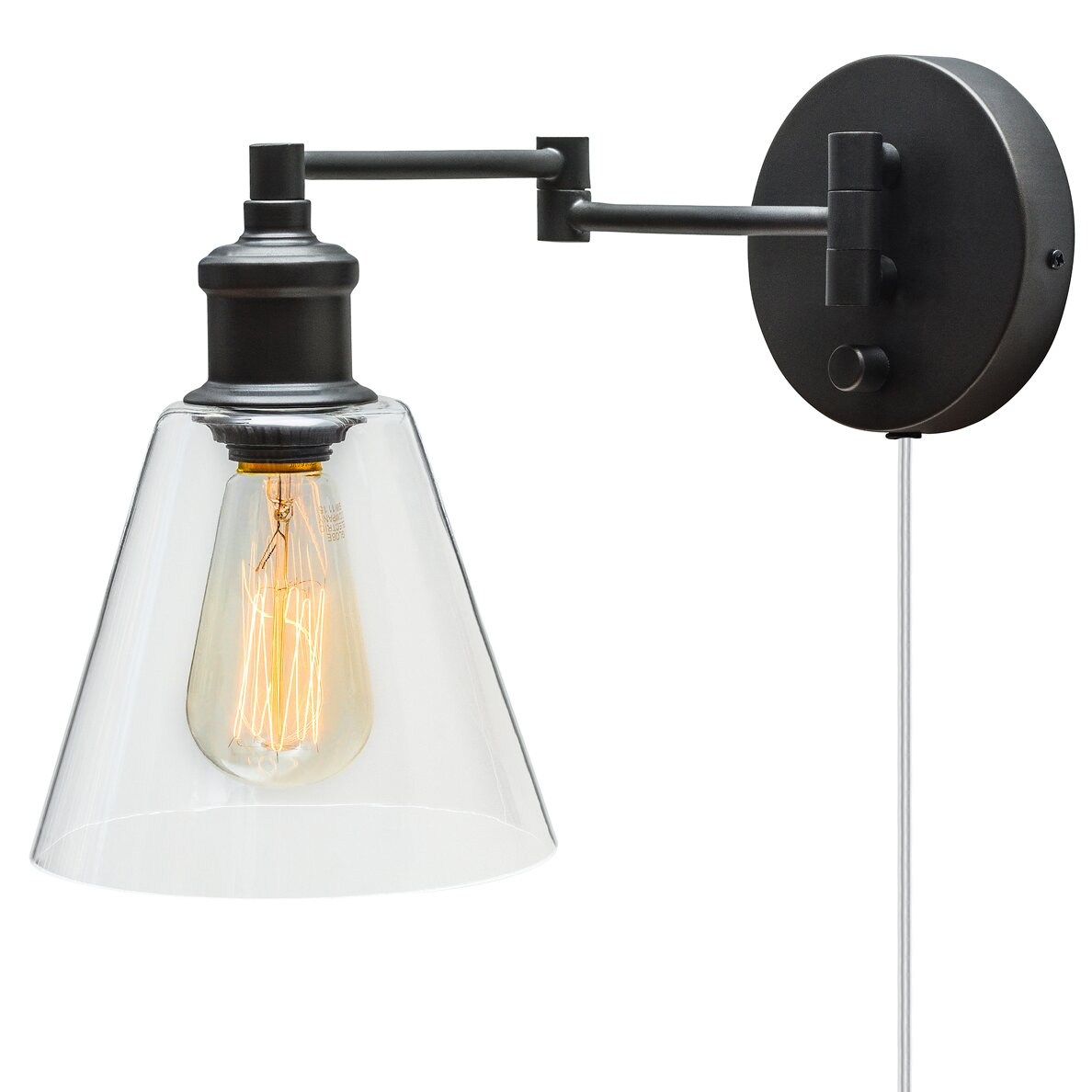 Wall Sconces Plug In Lighting : Globe Electric Company Adison 1 Light Plug In Industrial Wall Sconce with Hardwire Conversion ...