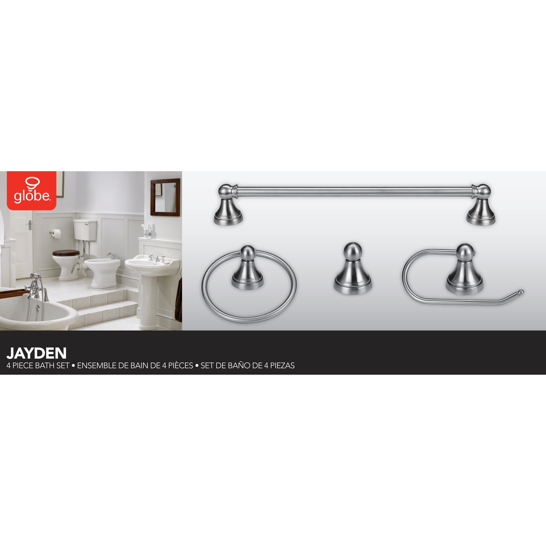 Globe electric company jayden 4 piece bathroom hardware for Bathroom 4 piece set