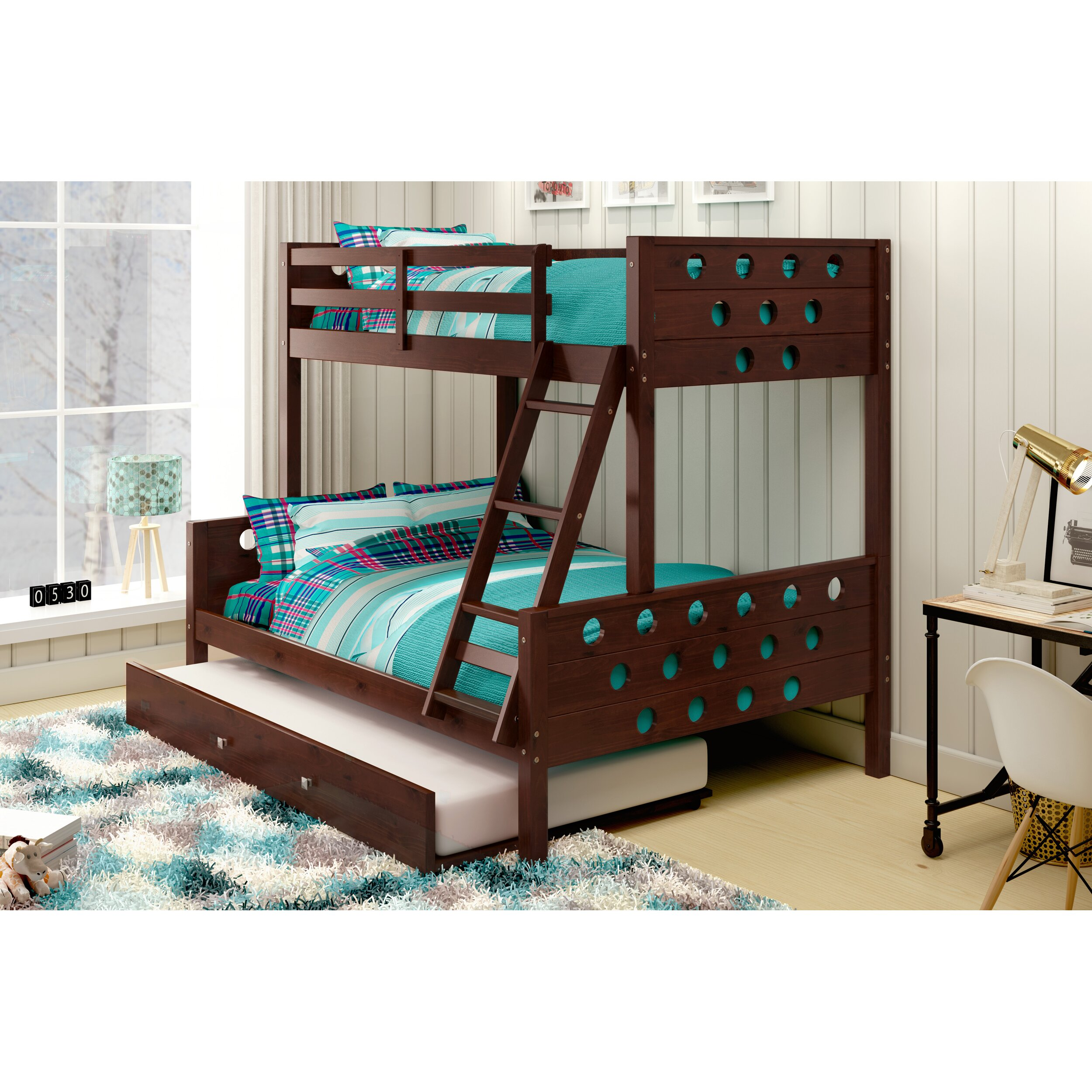 donco kids twin over full bunk bed with trundle reviews wayfair. Black Bedroom Furniture Sets. Home Design Ideas
