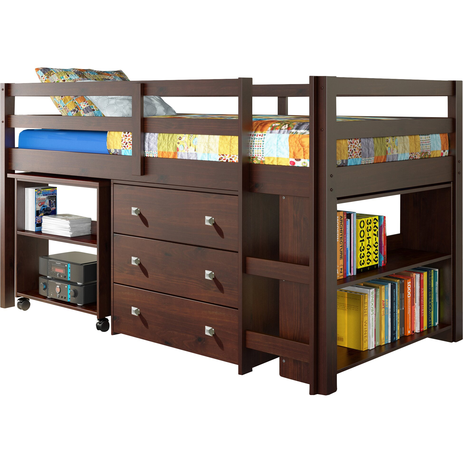 Donco Kids Twin Low Loft Bed with Storage & Reviews | Wayfair