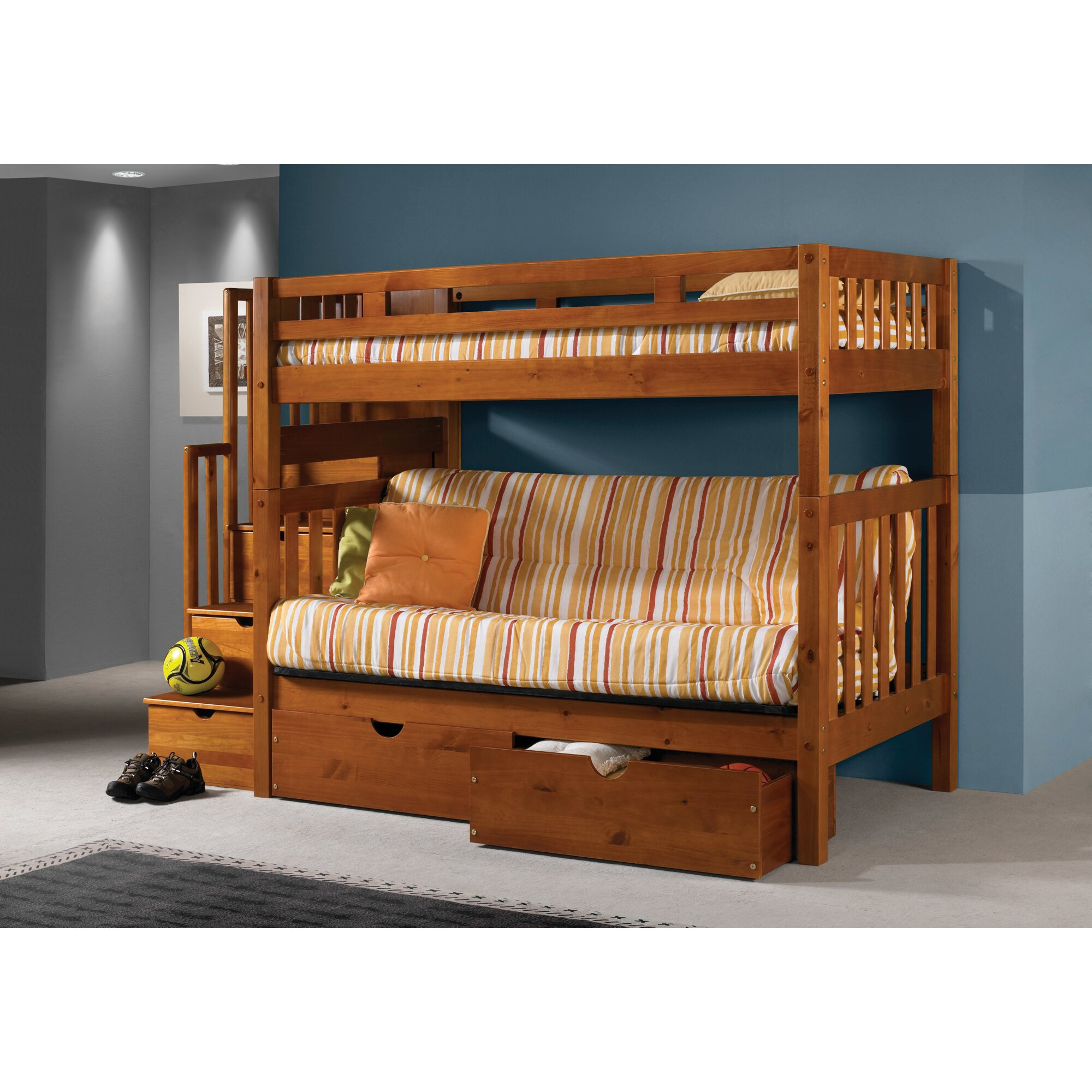 Donco kids stairway loft bunk bed with storage drawers for 1 loft