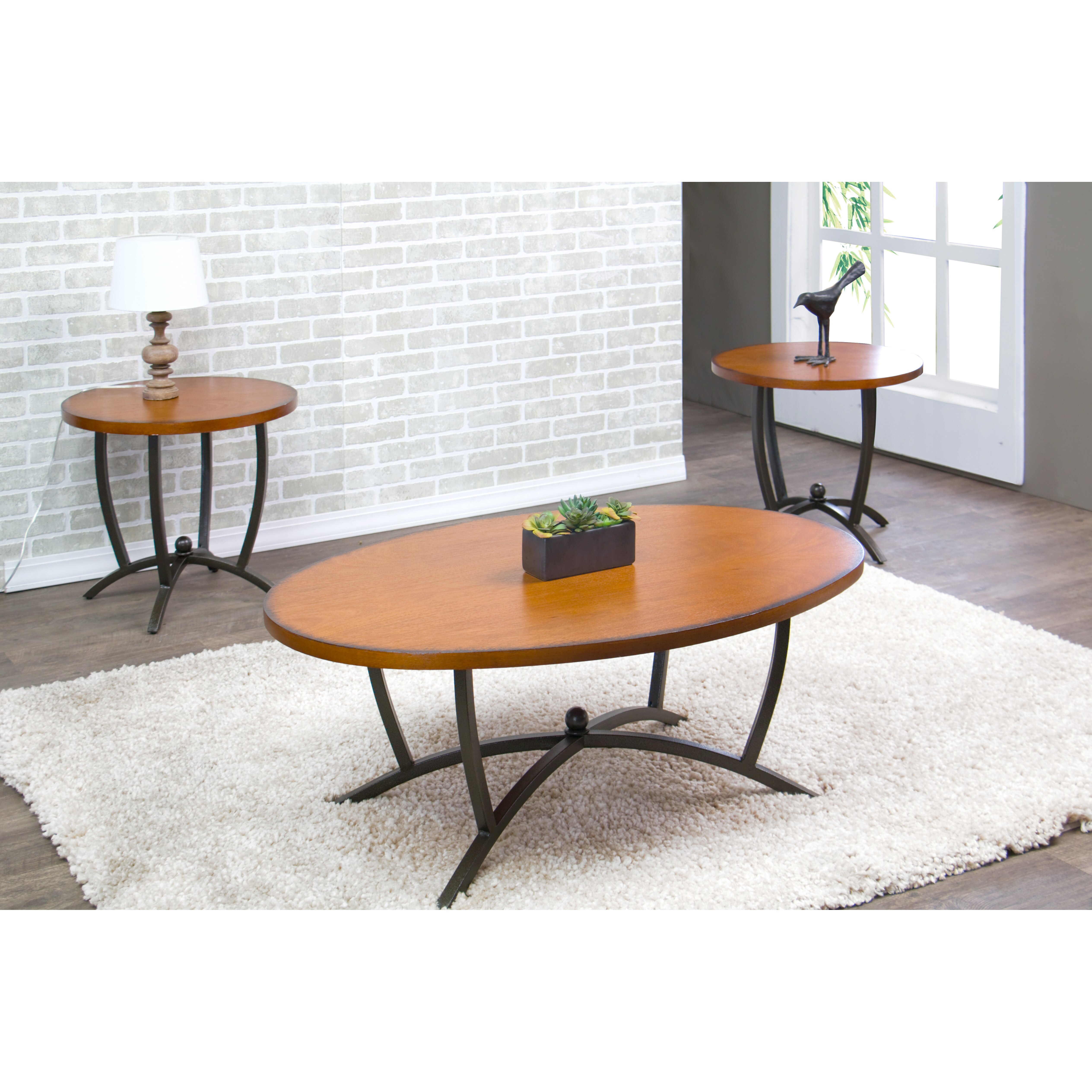 Wholesale Interiors Baxton Studio Manchot 3 Piece Coffee Table Set Reviews Wayfair