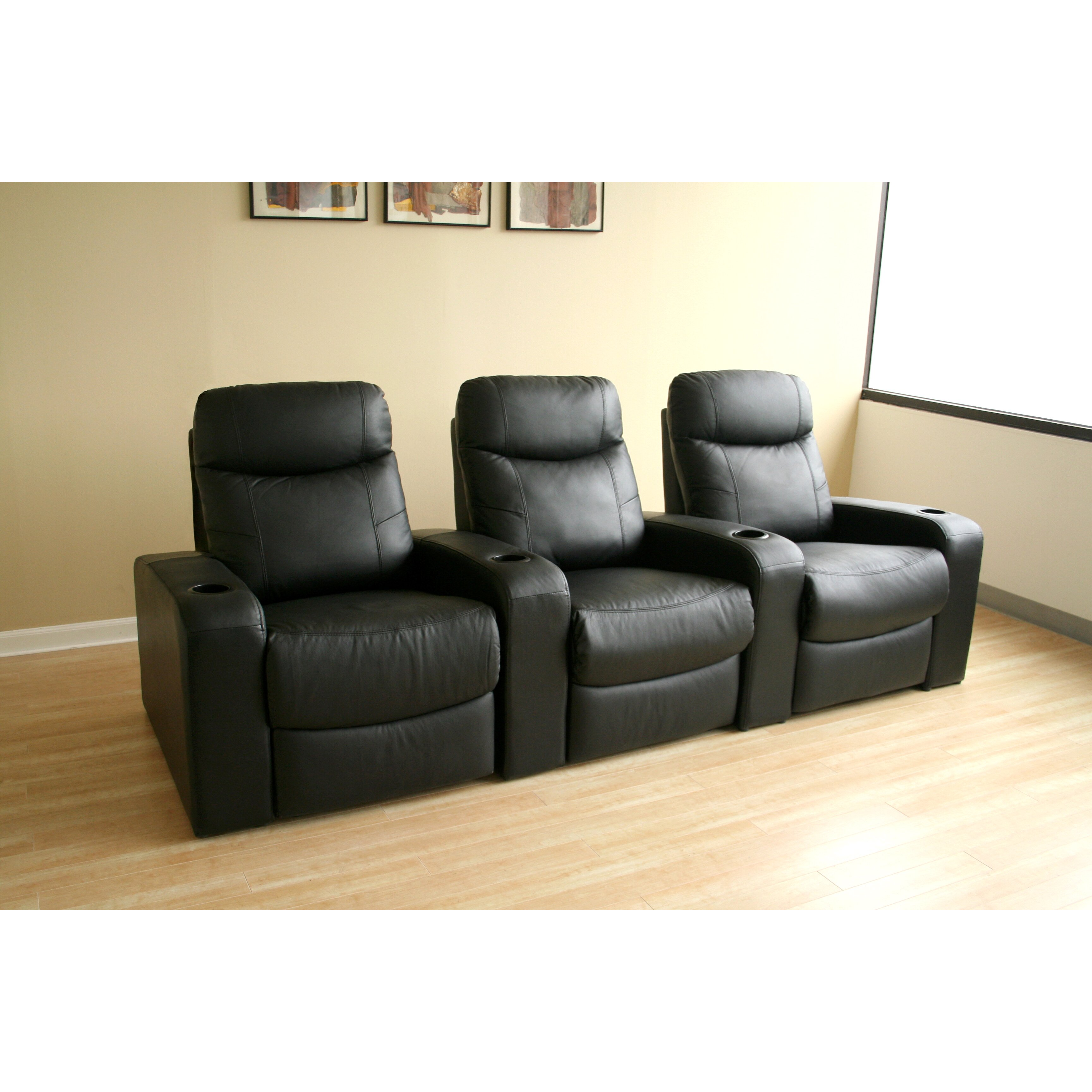Wholesale interiors baxton studio home theater recliner row of 3 reviews wayfair - Wholesale home interiors ...