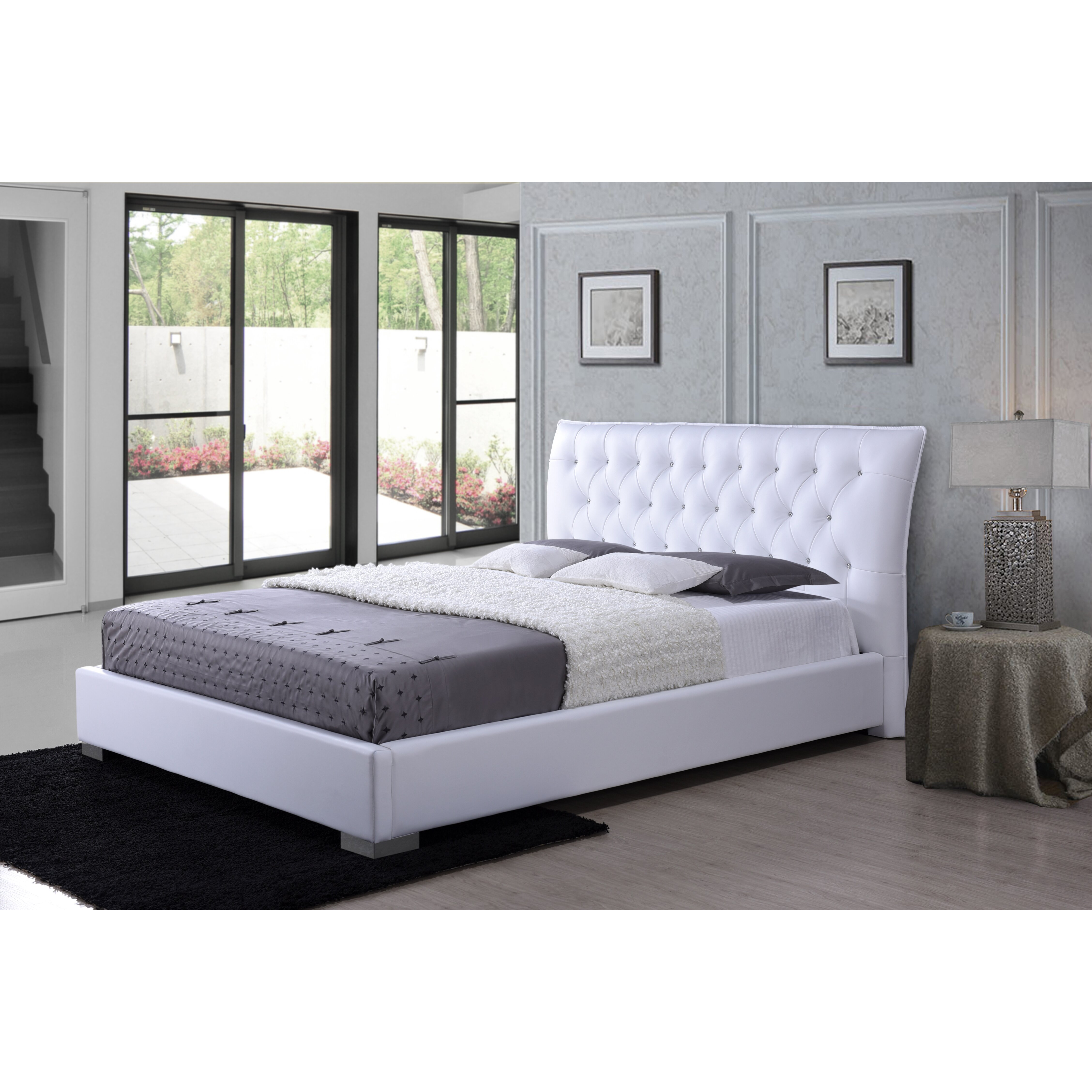 wholesale interiors baxton studio upholstered platform bed reviews wayfair. Black Bedroom Furniture Sets. Home Design Ideas