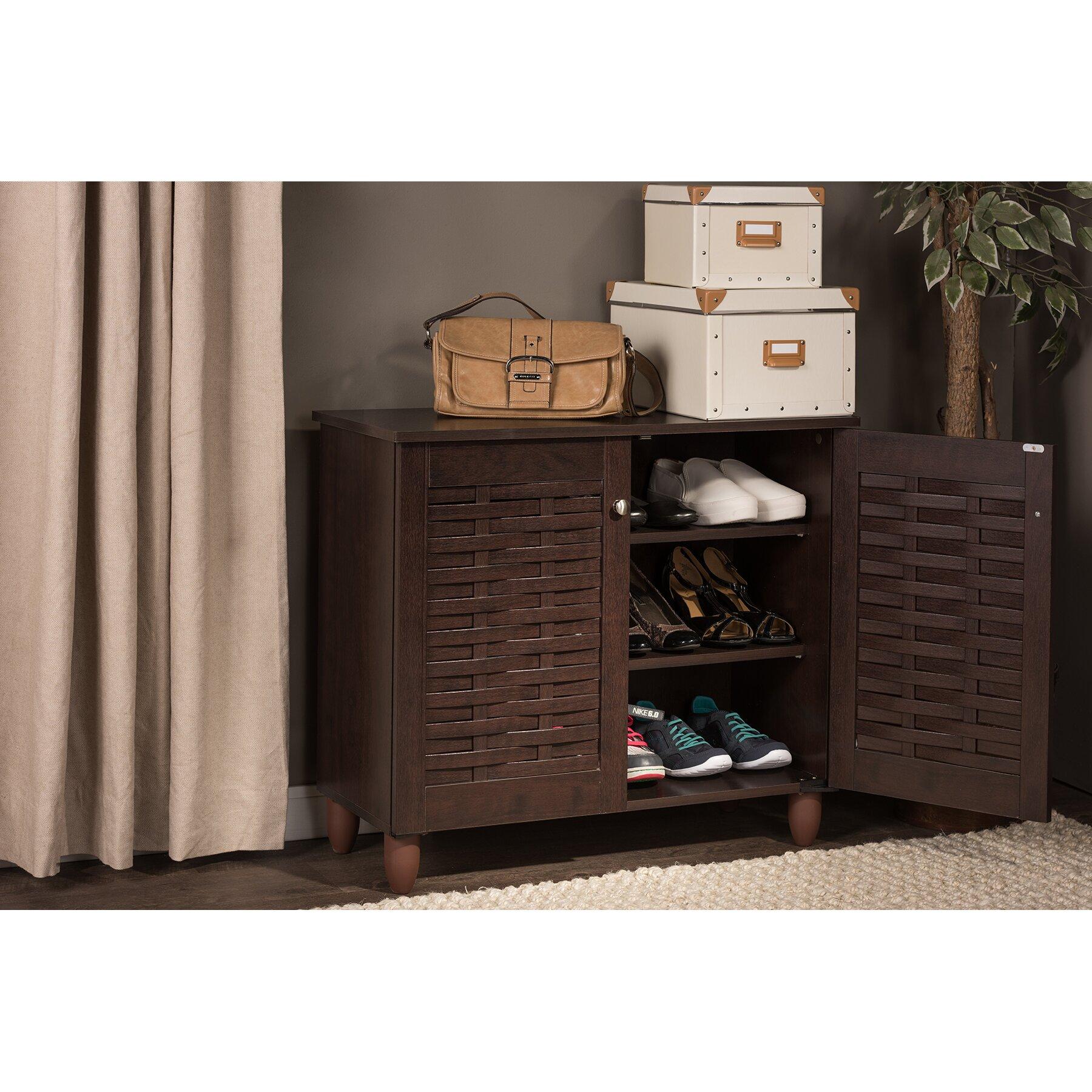wholesale interiors baxton studio winda 9 pair shoe storage cabinet reviews wayfair. Black Bedroom Furniture Sets. Home Design Ideas