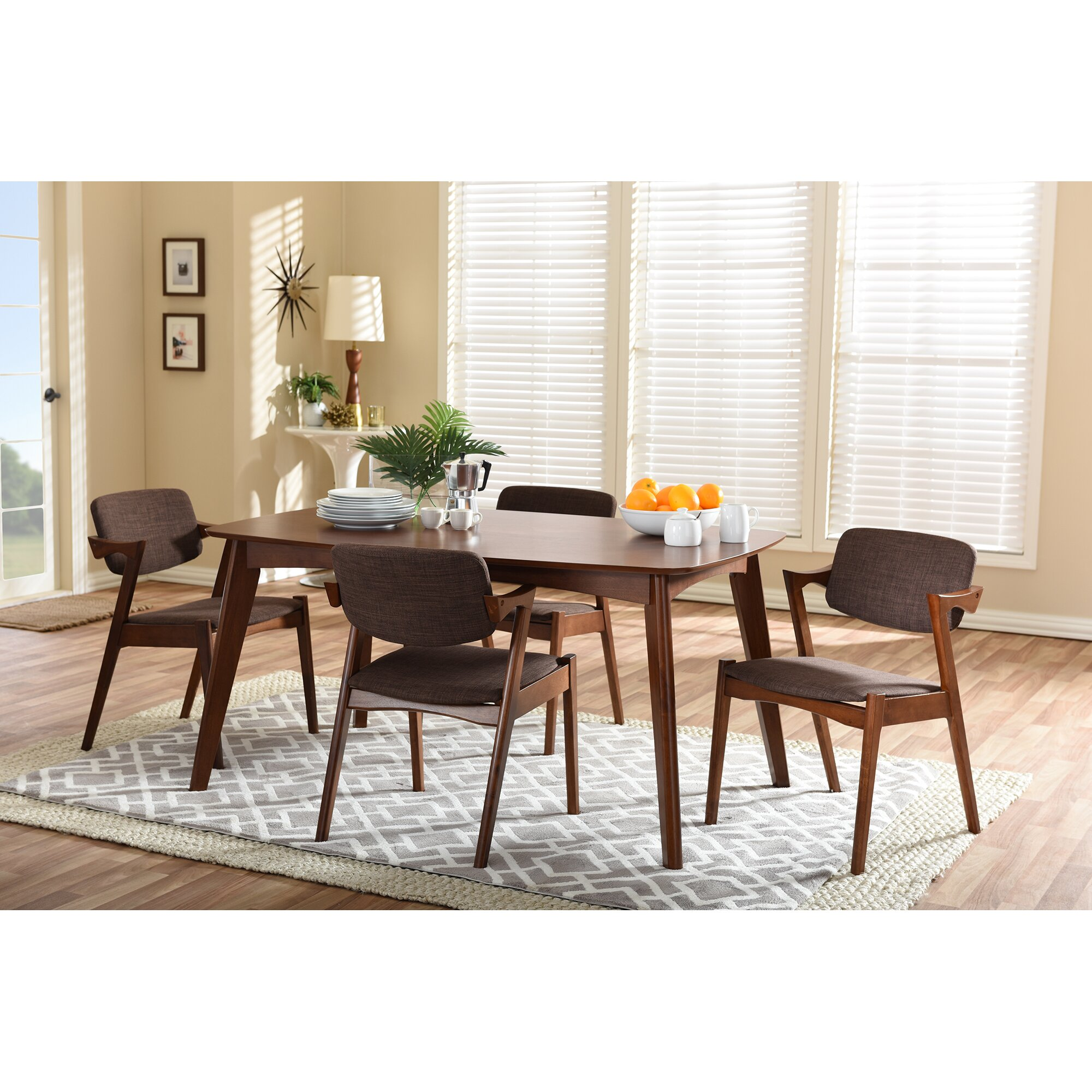 Dark Wood Dining Set: Wholesale Interiors Baxton Studio Elegant Dark Walnut