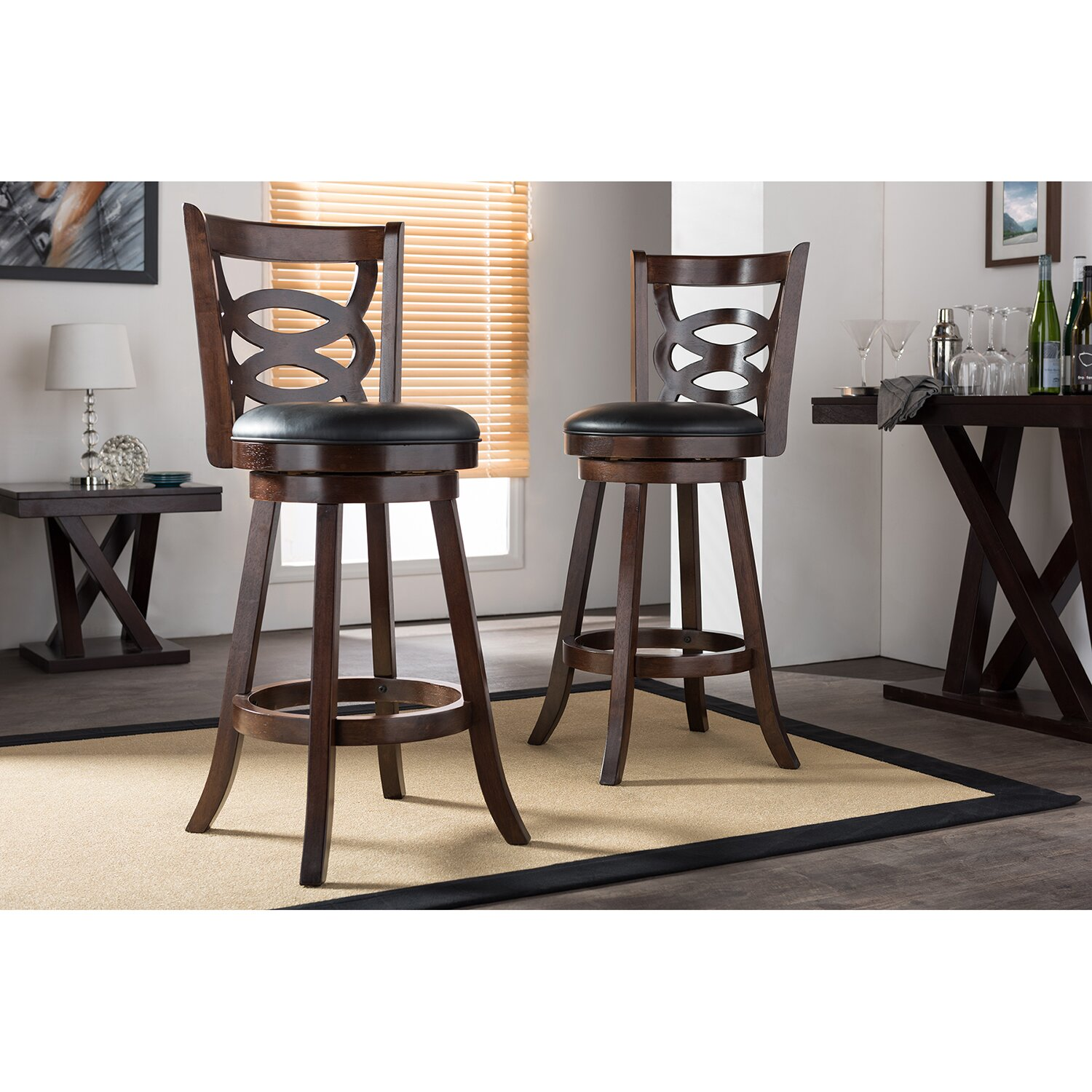28 cappuccino square pub with stools set and chairs u 3 pc