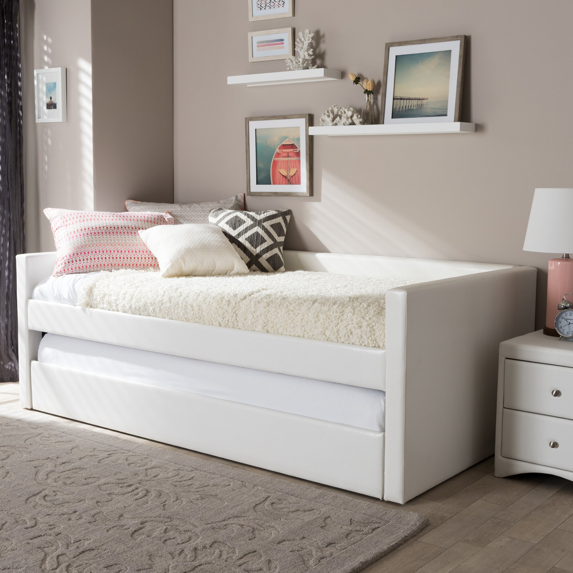 Twin Metal Daybed Trundle White