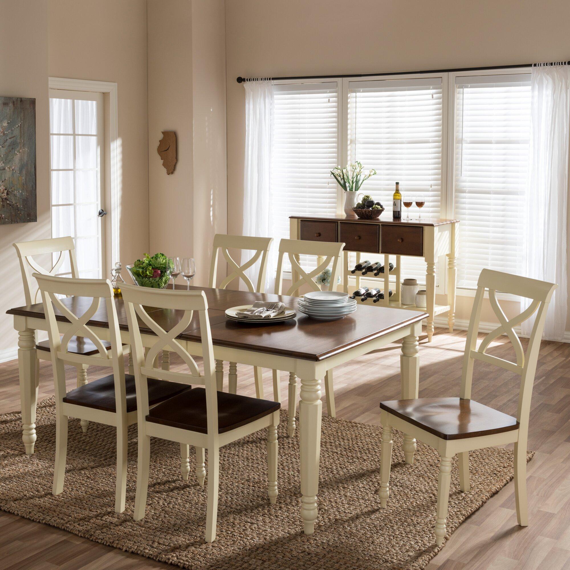 wholesale interiors baxton studio 8 piece dining set wayfair. Black Bedroom Furniture Sets. Home Design Ideas