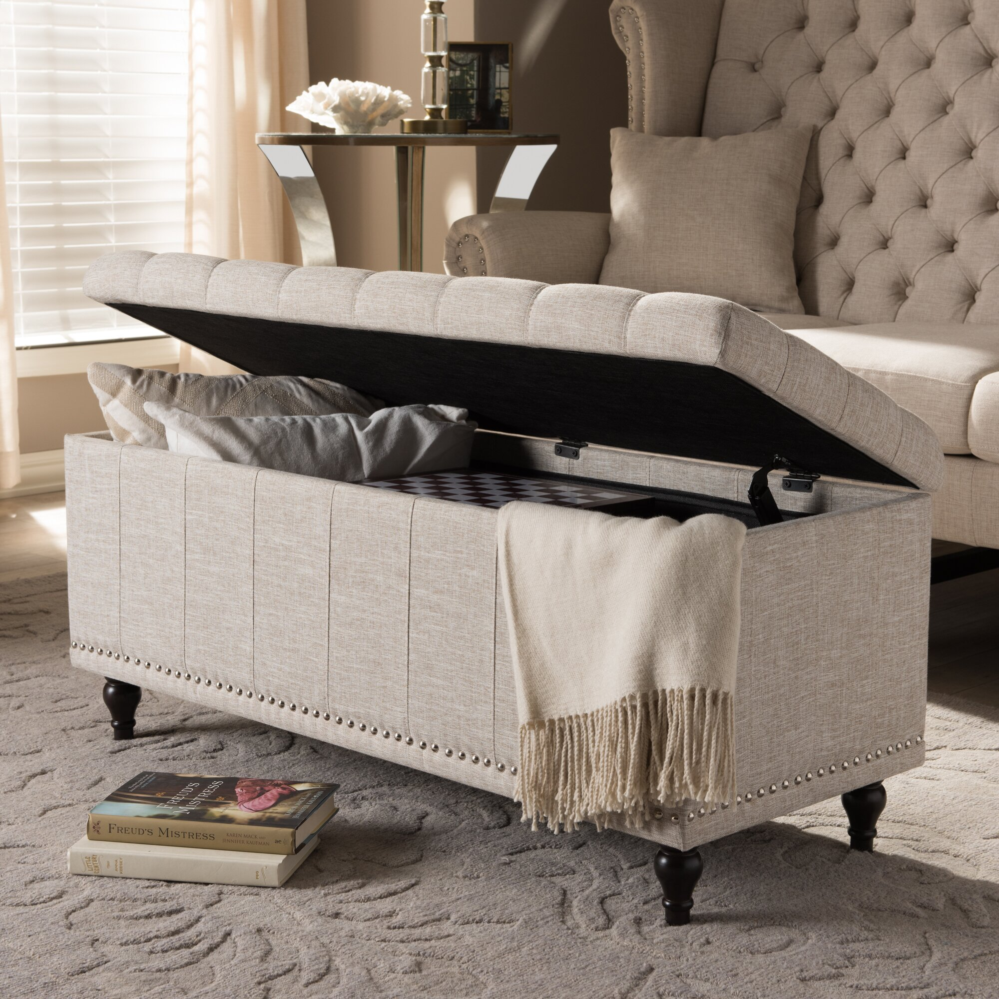 Chandra Upholstered Storage Bedroom Bench Reviews: Wholesale Interiors Baxton Studio Luca Upholstered Storage