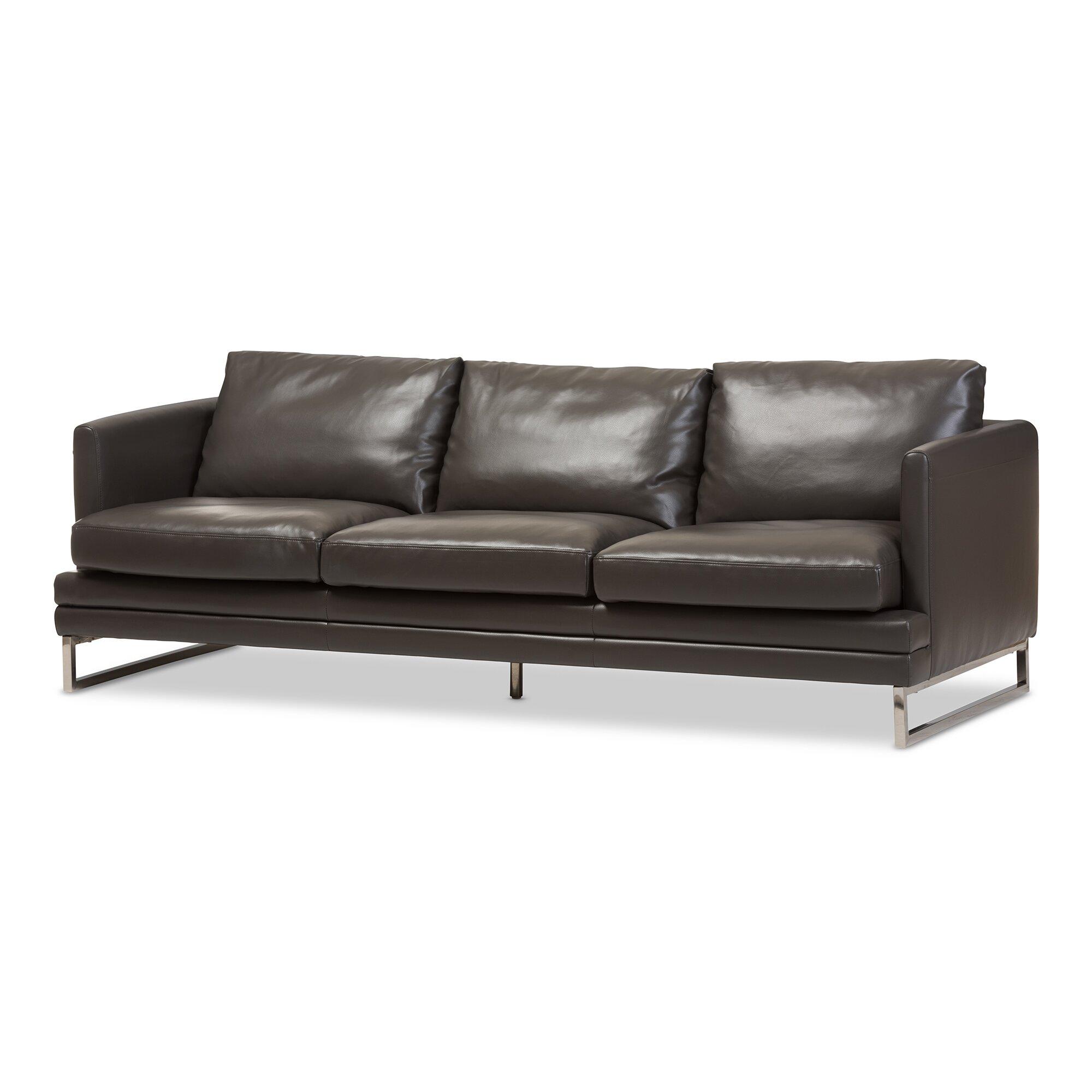 Wholesale interiors baxton studio dakota leather sofa for Leather sofa reviews