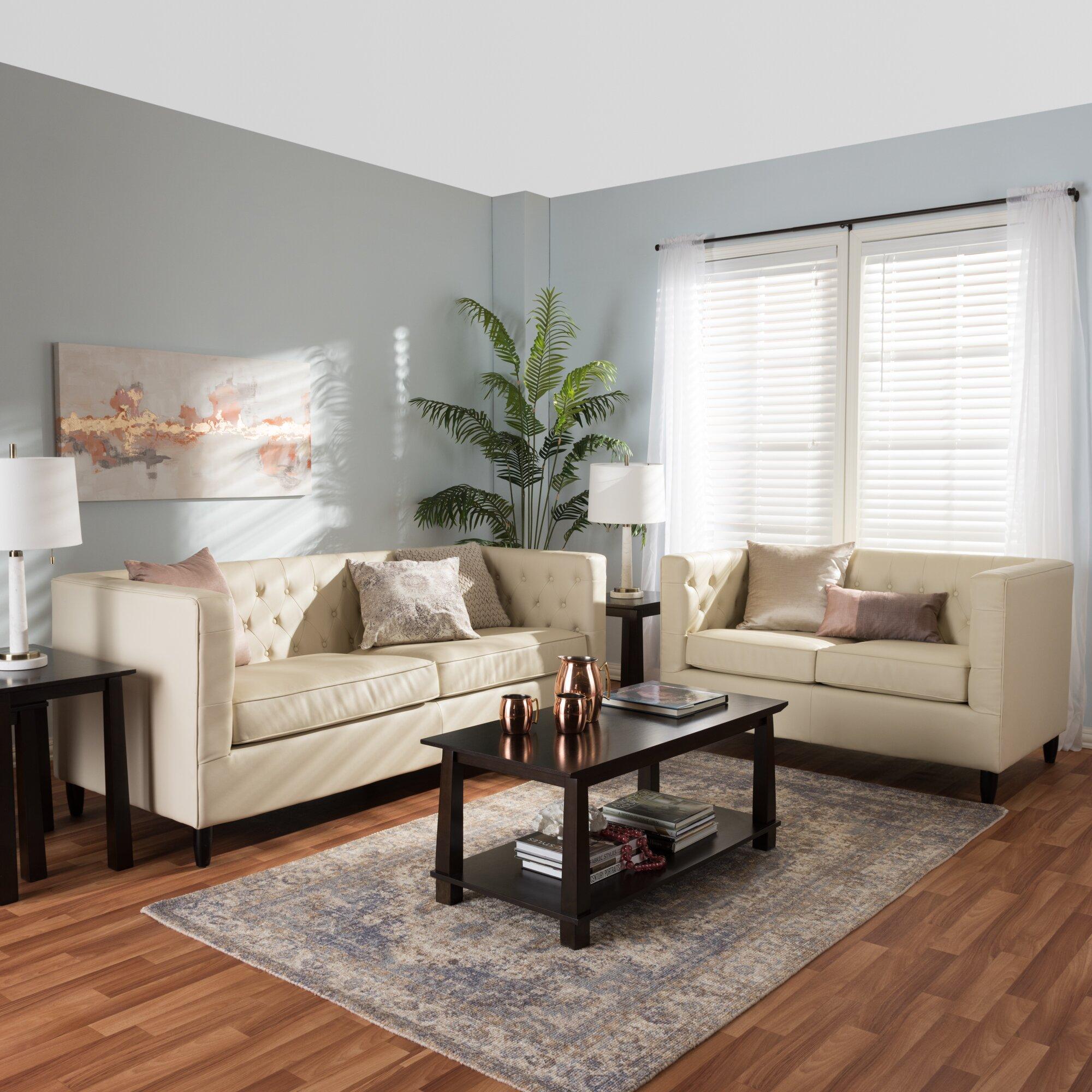 Wholesale Interiors Baxton Studio Darrow Leather Sofa Set ...