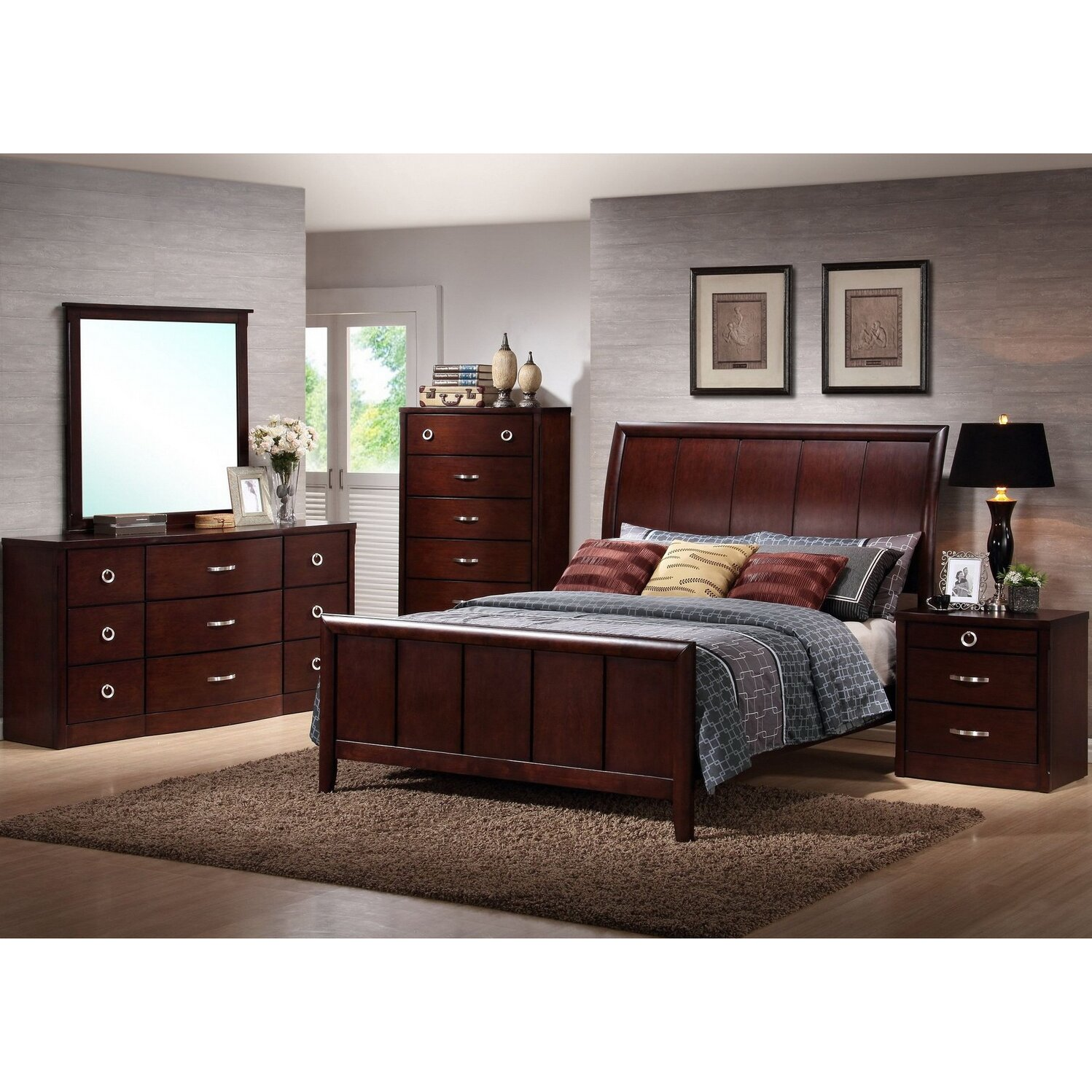 Wholesale Interiors Baxton Studio Sleigh 5 Piece Bedroom