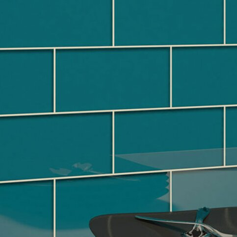 Giorbello 3 Quot X 6 Quot Glass Subway Tile In Dark Teal Amp Reviews