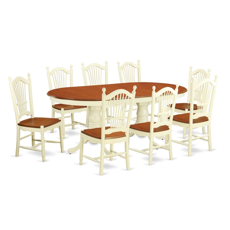 East west plainville 9 piece dining set wayfair for Kitchen table set for 8