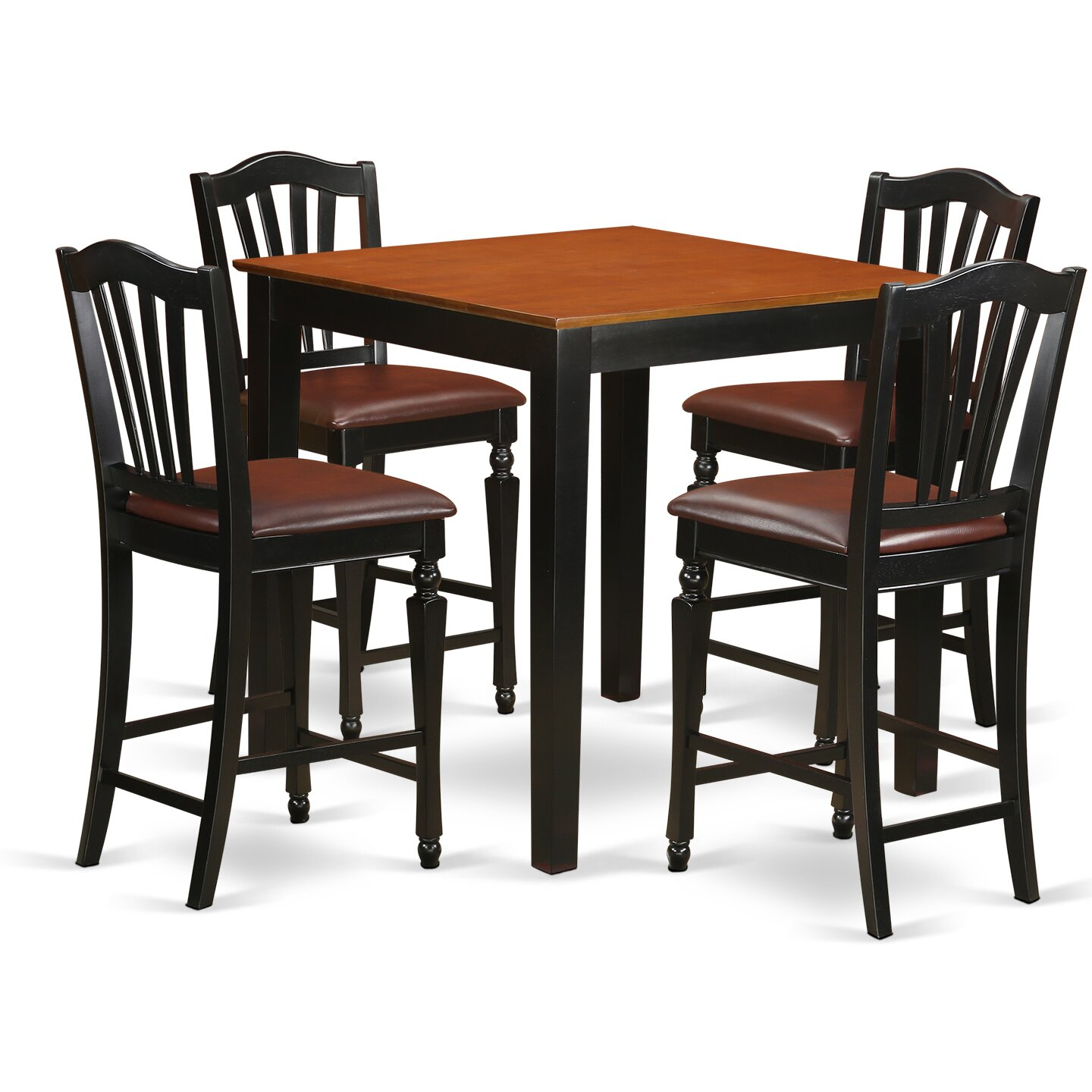 east west 5 piece counter height pub table set. Black Bedroom Furniture Sets. Home Design Ideas
