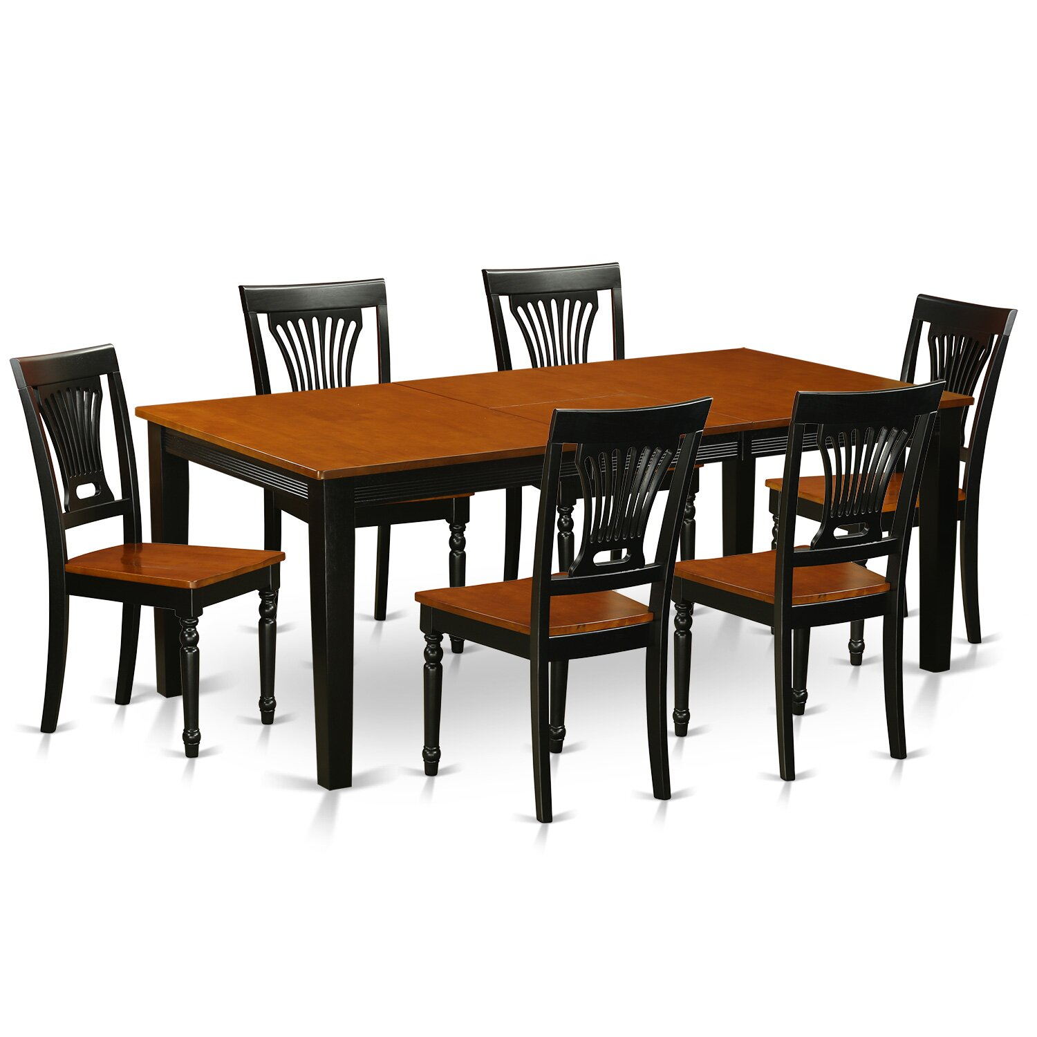 pc dining room set dining table and 6 solid wood dining chairs qupl7
