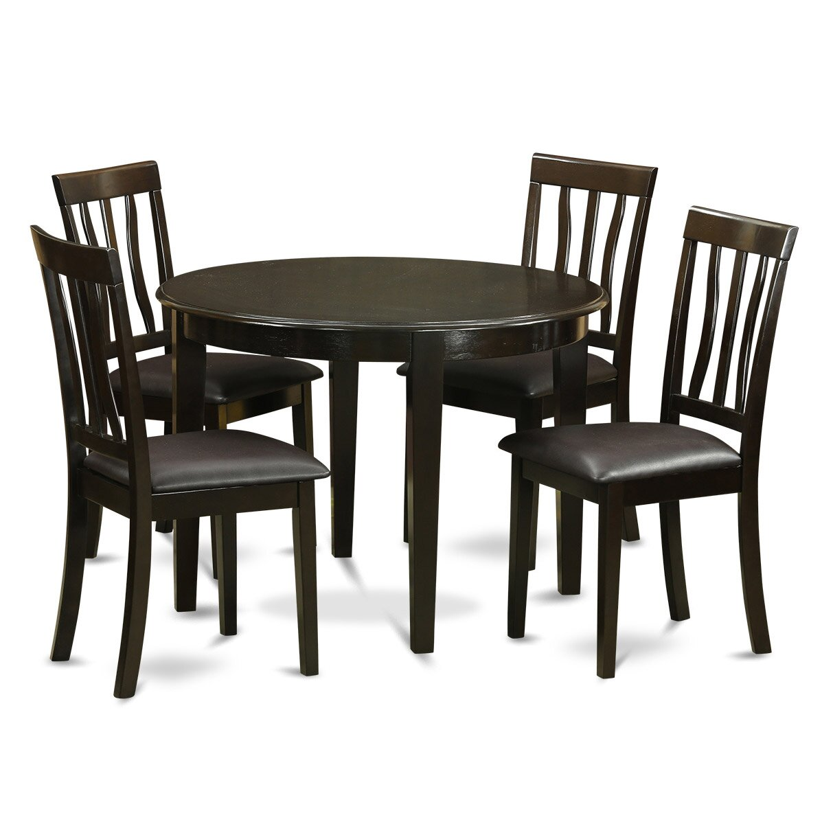 3 Piece Small Kitchen Table And Chairs Set Round Table And: Wooden Importers Boston 5 Piece Dining Set