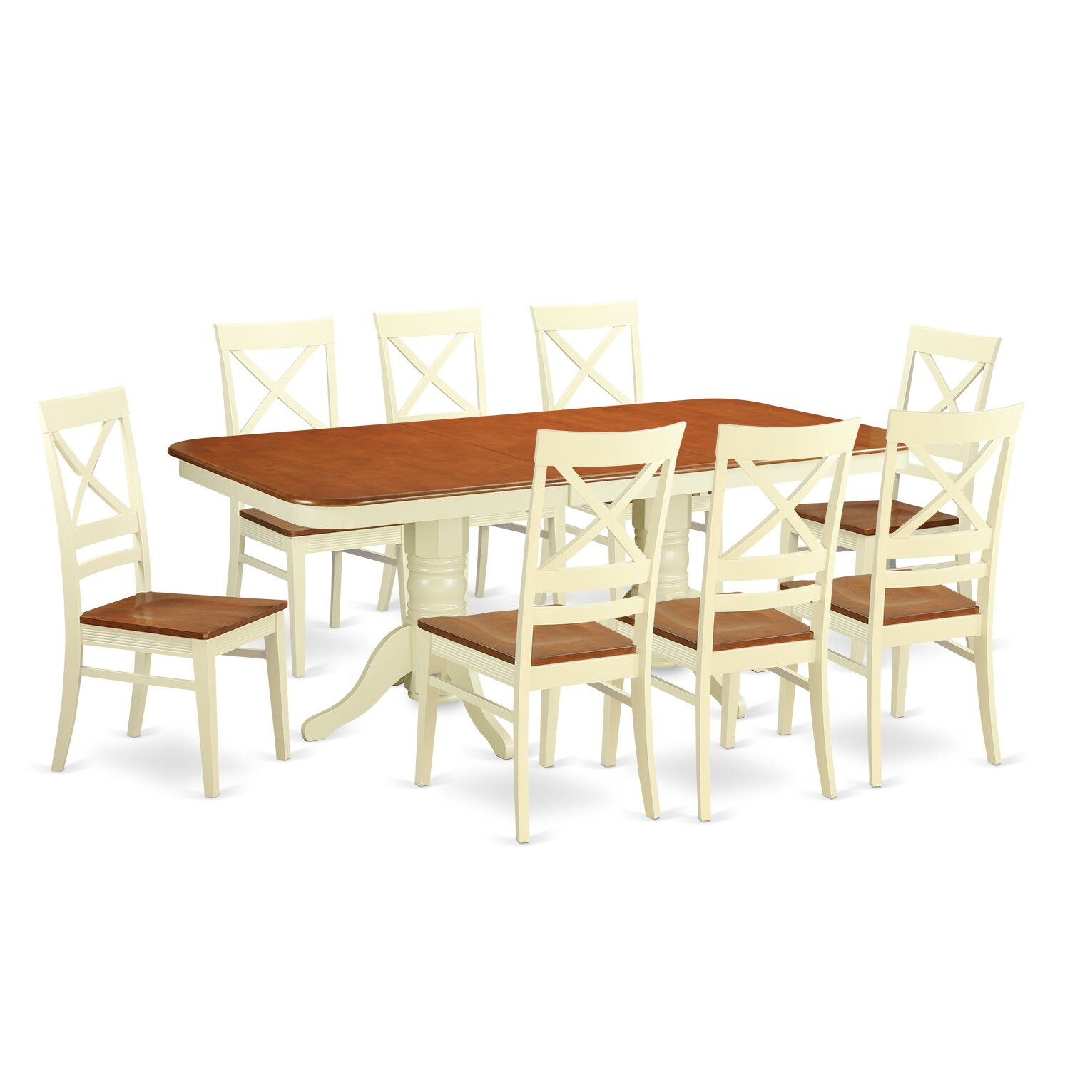 Wooden importers napoleon 9 piece dining set wayfair for Dining room tables 9 piece