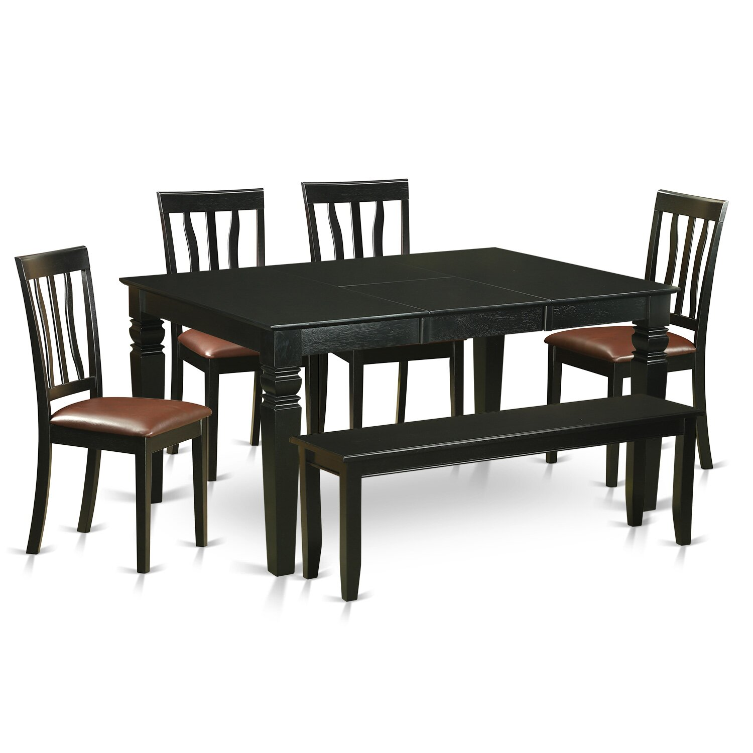 Wooden importers weston 6 piece dining set wayfair for Dining set with bench and chairs