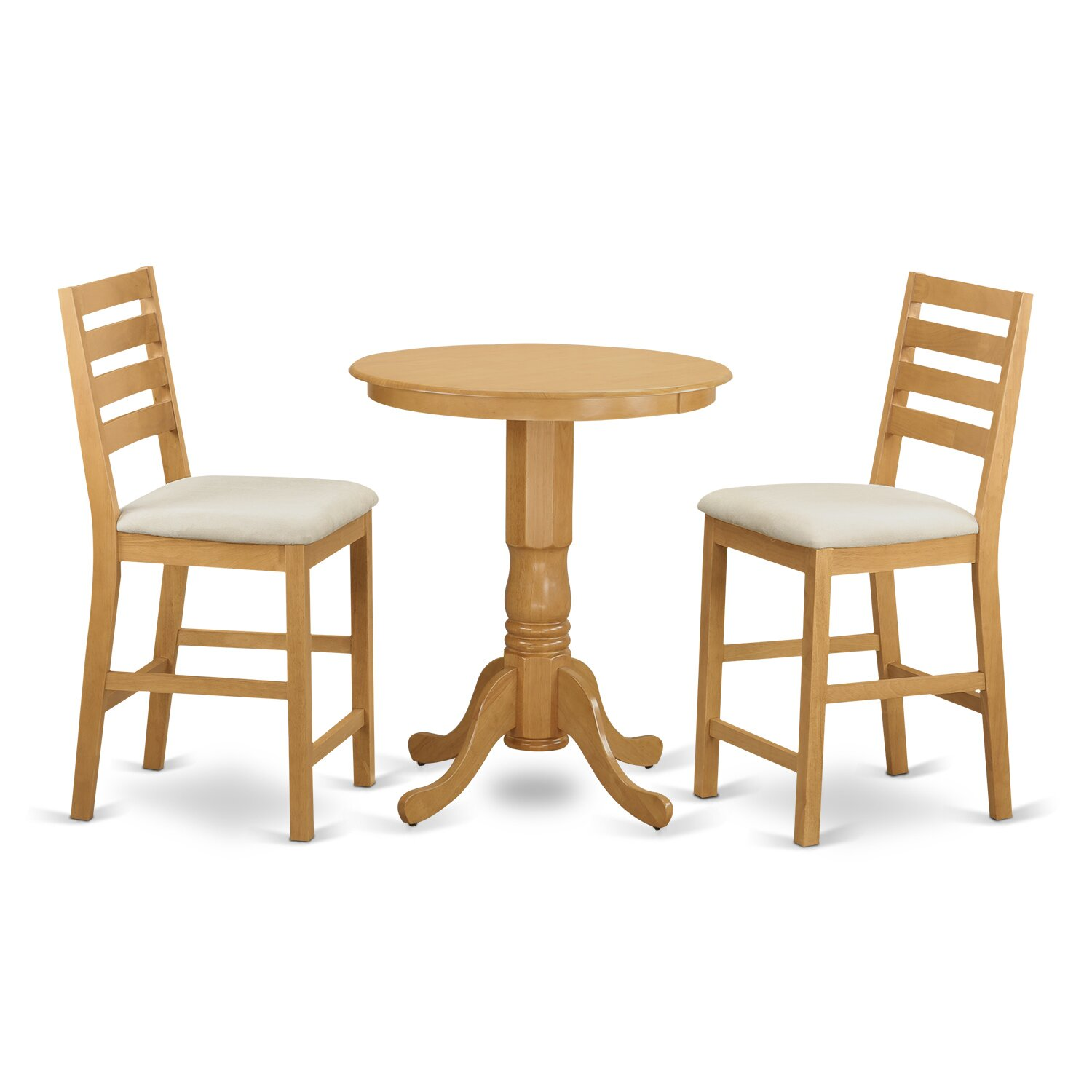 Wooden importers 3 piece counter height pub table set for Counter height kitchen table