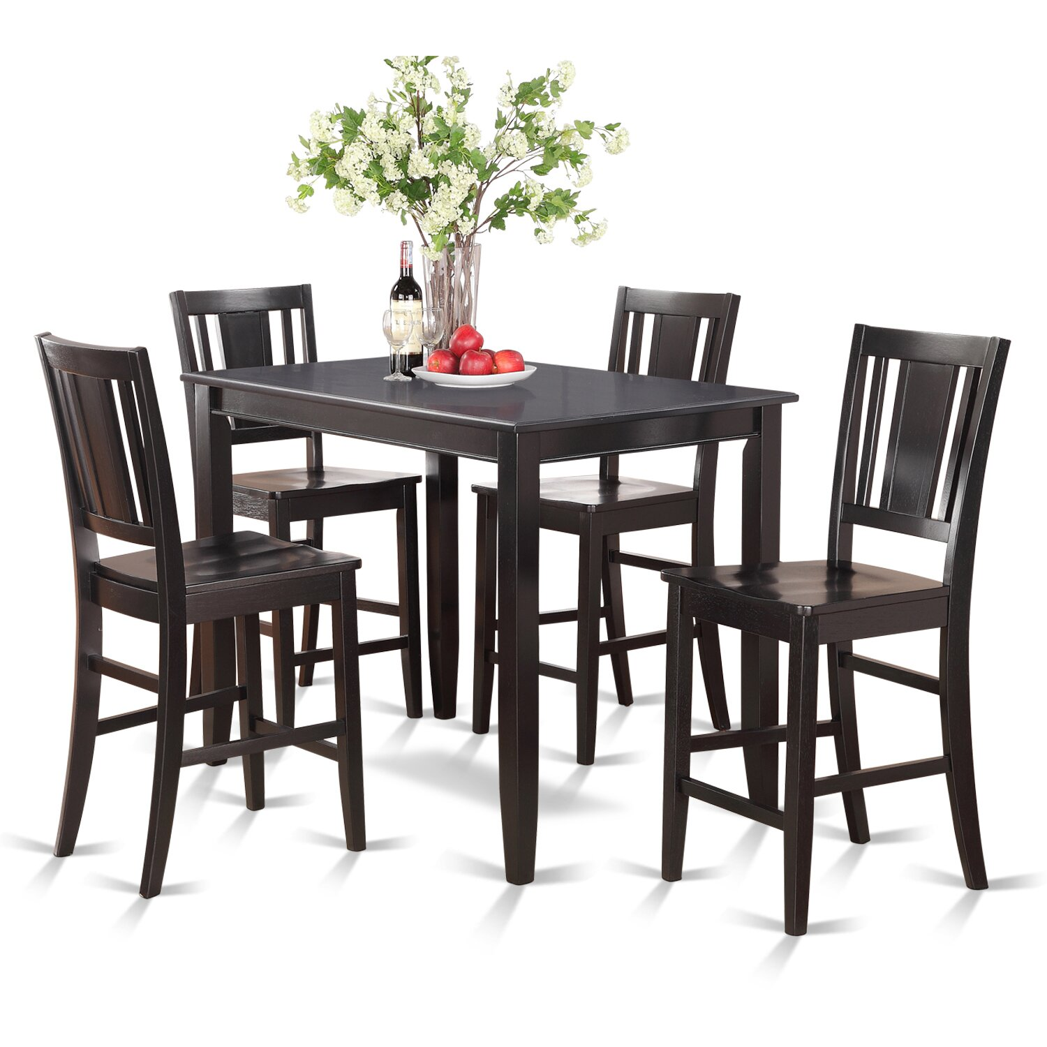 Wooden importers buckland 5 piece counter height dining for Wooden dining set