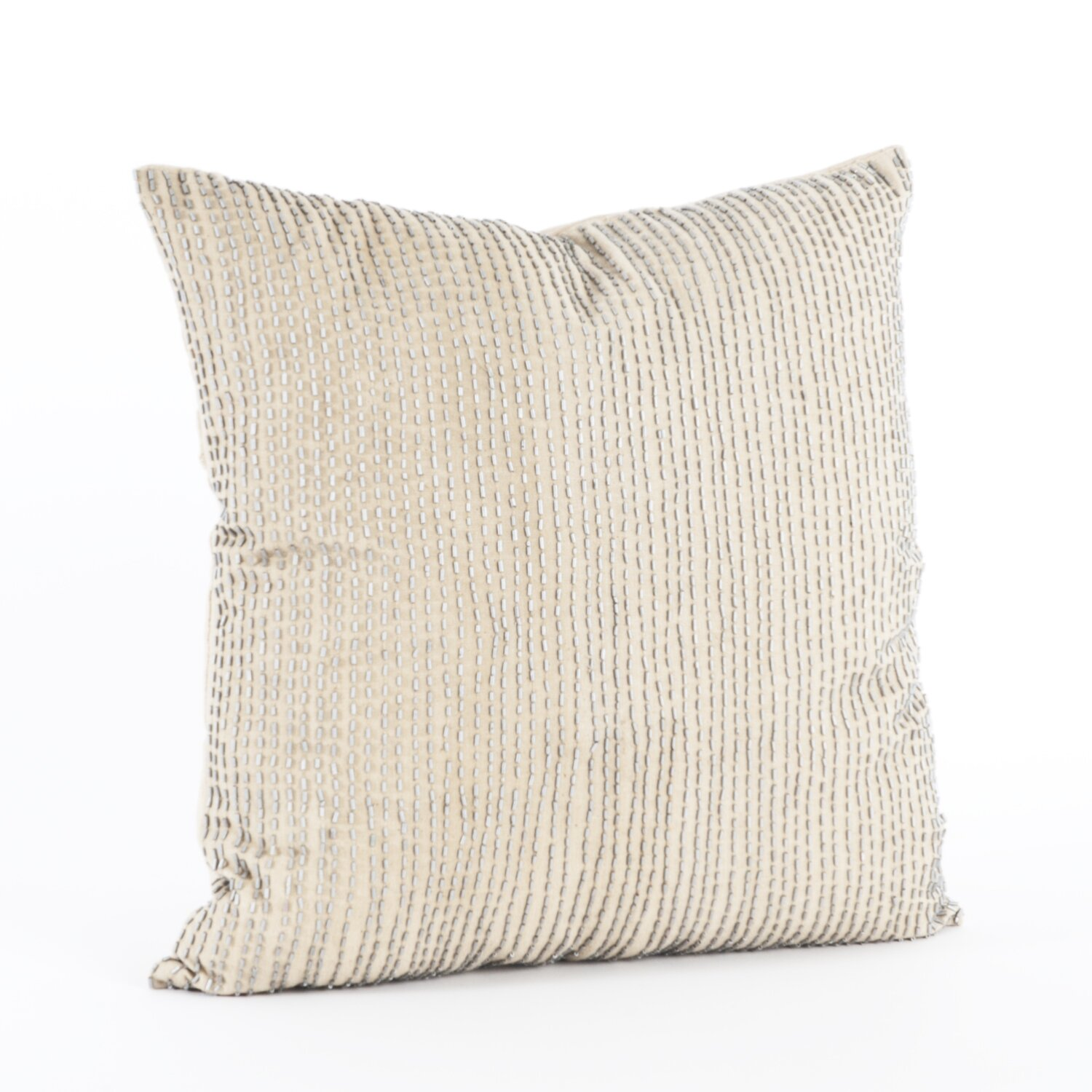 Saro Silver Beaded Cotton Throw Pillow & Reviews Wayfair
