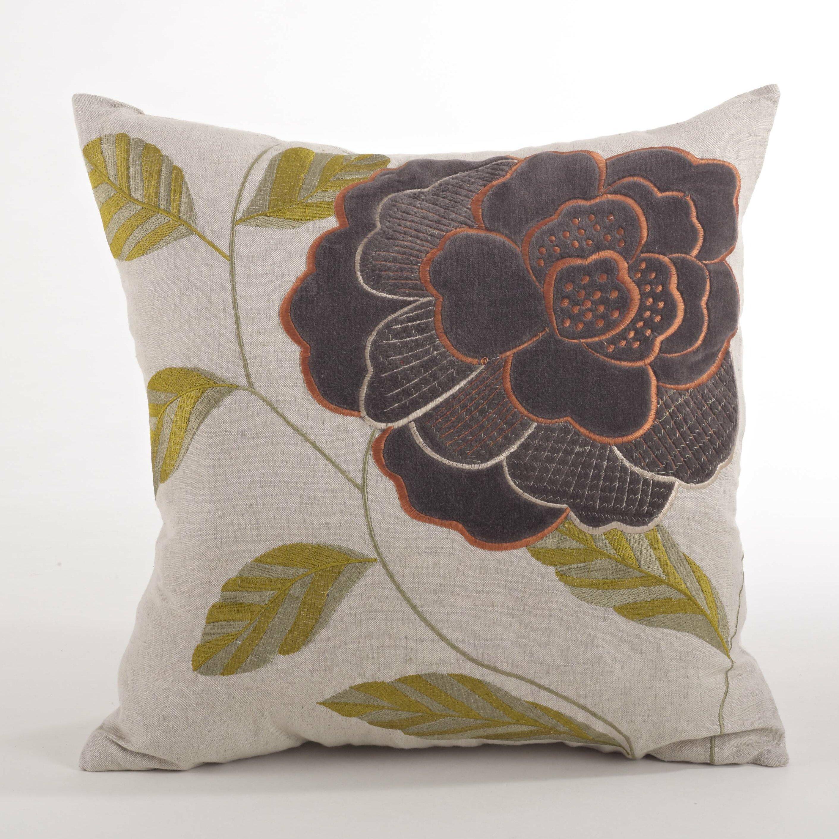 Throw Pillow Filling : Saro Imani Embroidered Flower Design Throw Pillow Wayfair