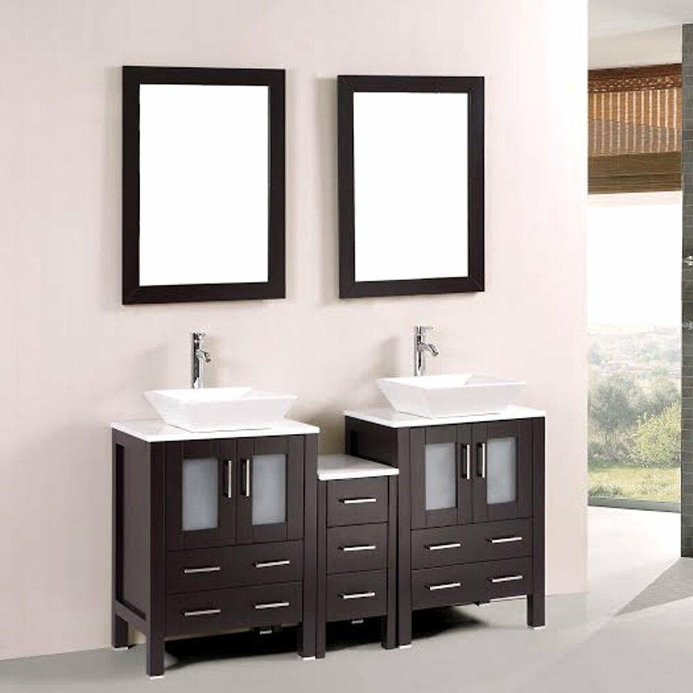 Kokols 60 Double Bathroom Vanity Set With Mirror Reviews Wayfair