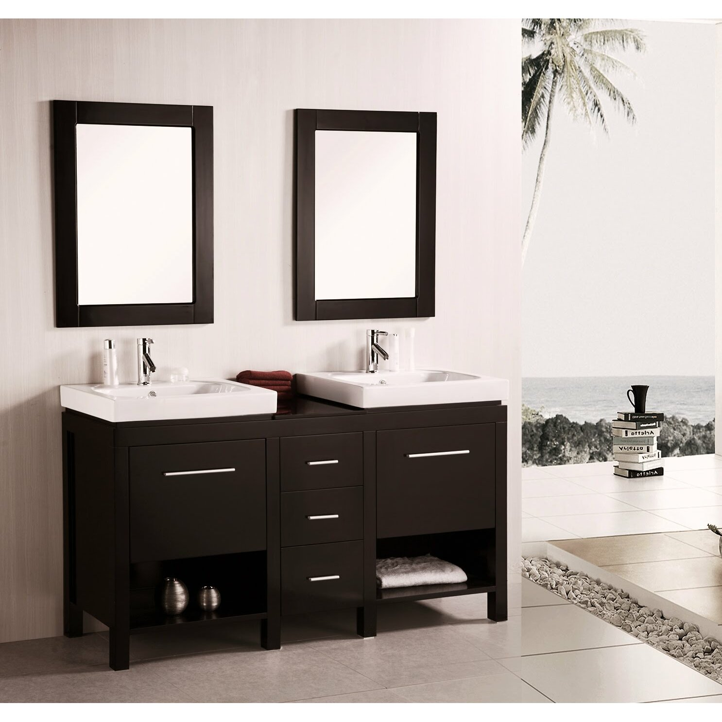 kokols 60 double bathroom vanity set with mirror On bathroom mirror set