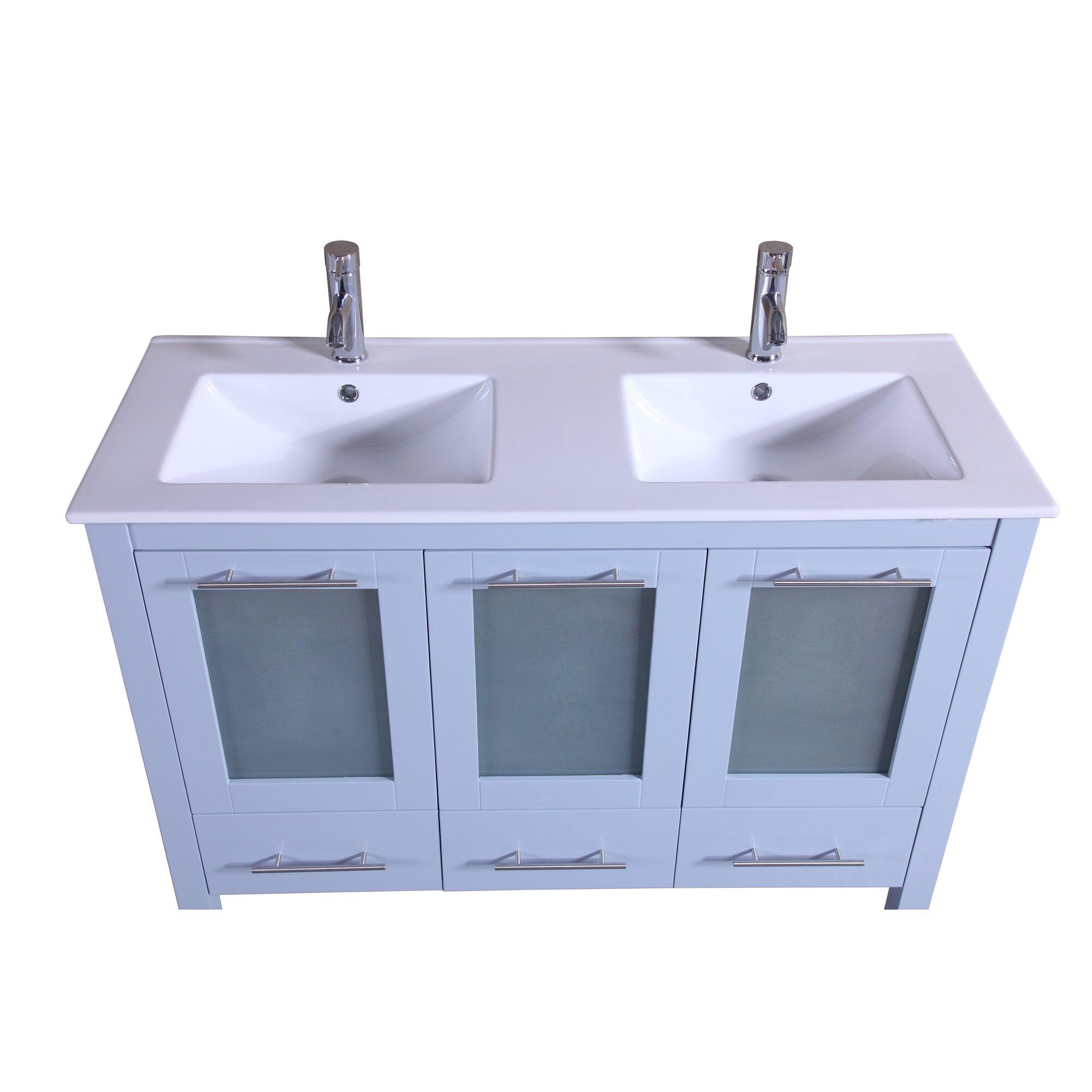 Kokols 48 Double Bathroom Vanity With Mirror Wayfair