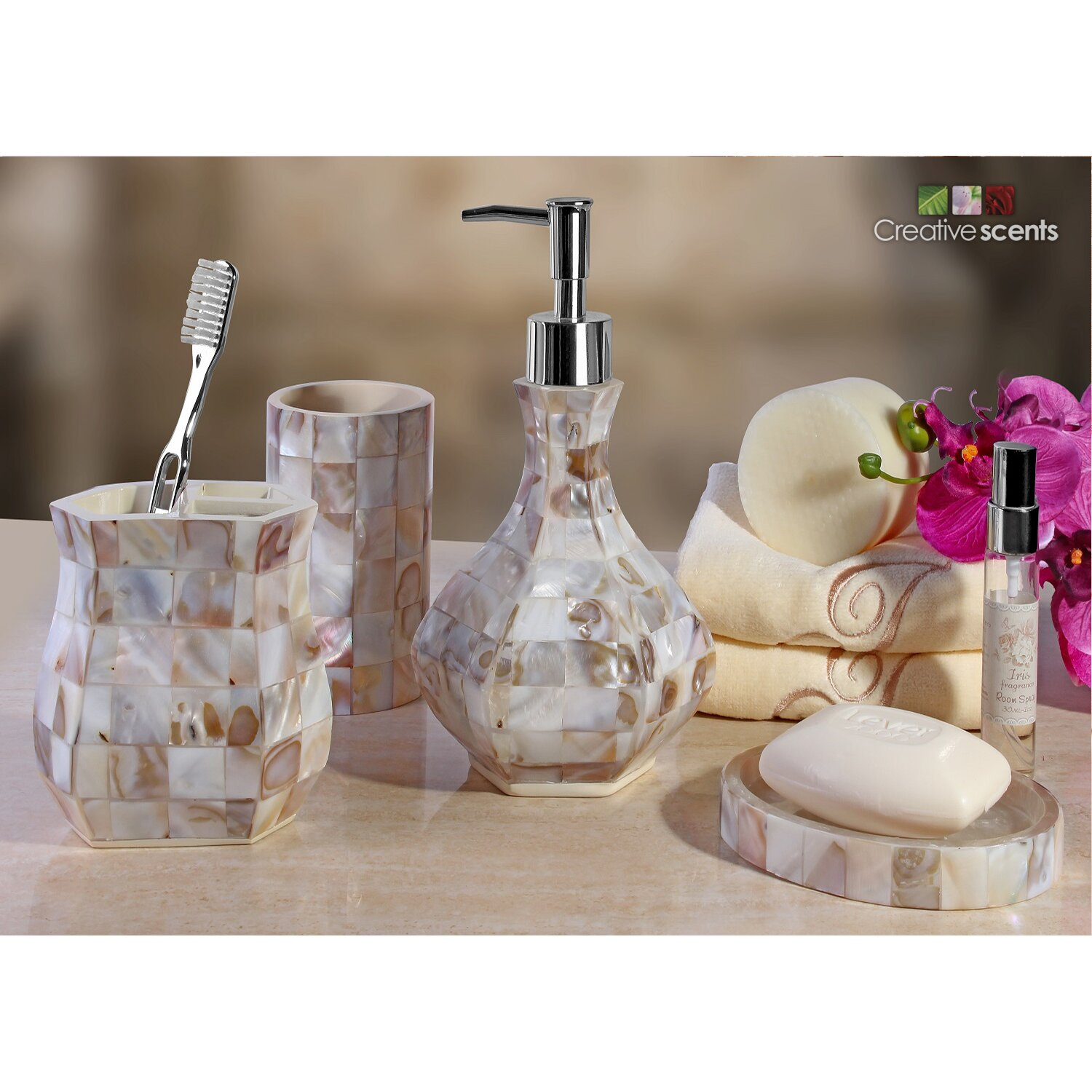 Creative scents milano 4 piece bathroom accessory set for Bathroom accessories list pdf