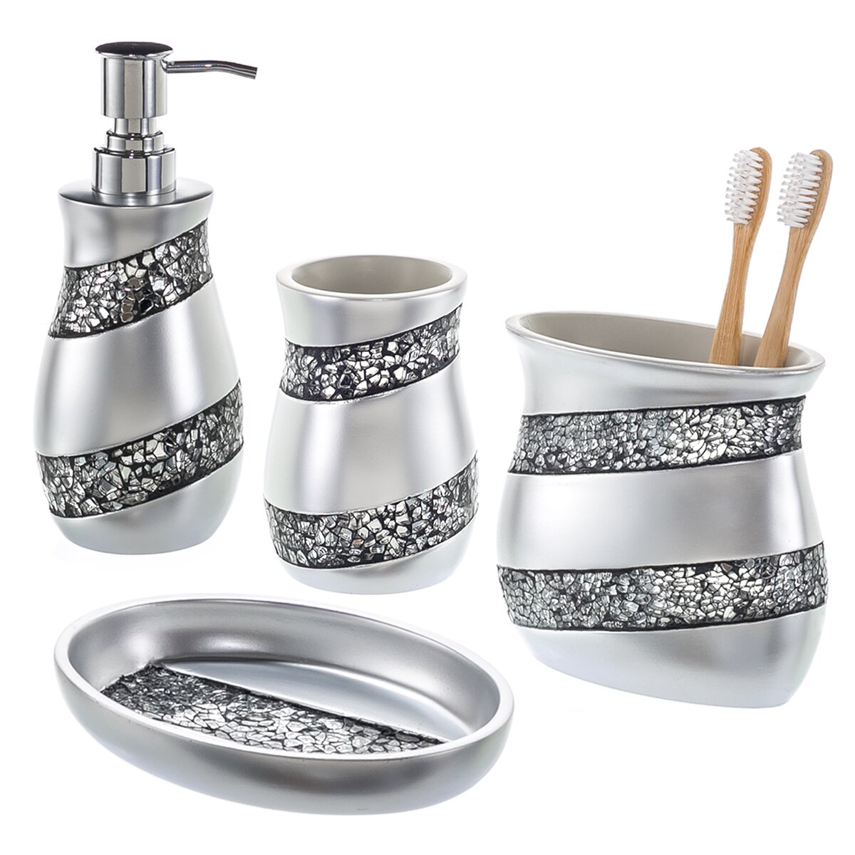 Creative scents 4 piece mosaic glass bathroom accessory for Silver bathroom set