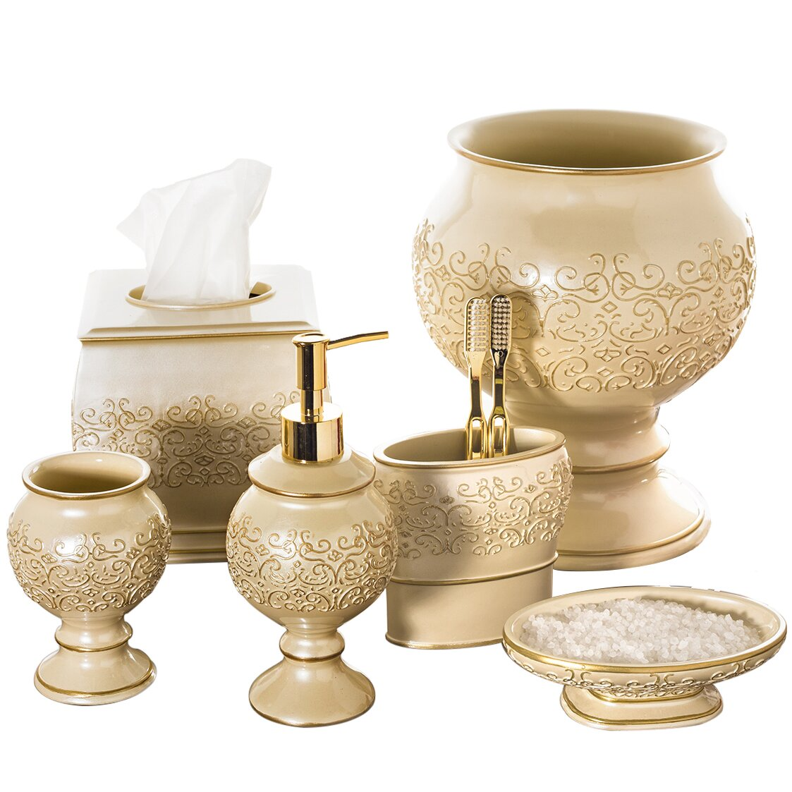Creative scents shannon 6 piece bathroom accessory set for Bathroom collection sets