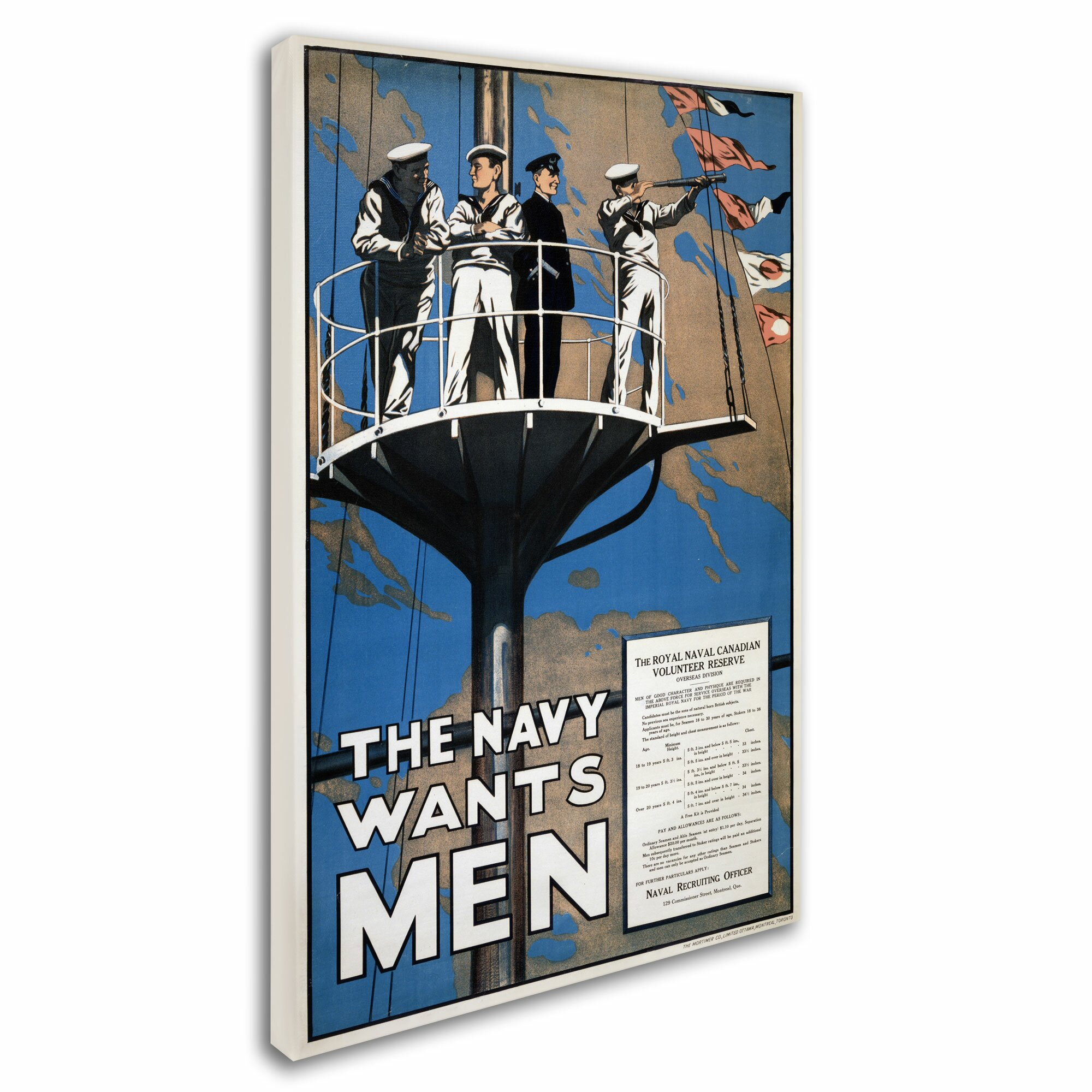 trademark art 39 recruitment poster for the royal canadian navy 39 vintag