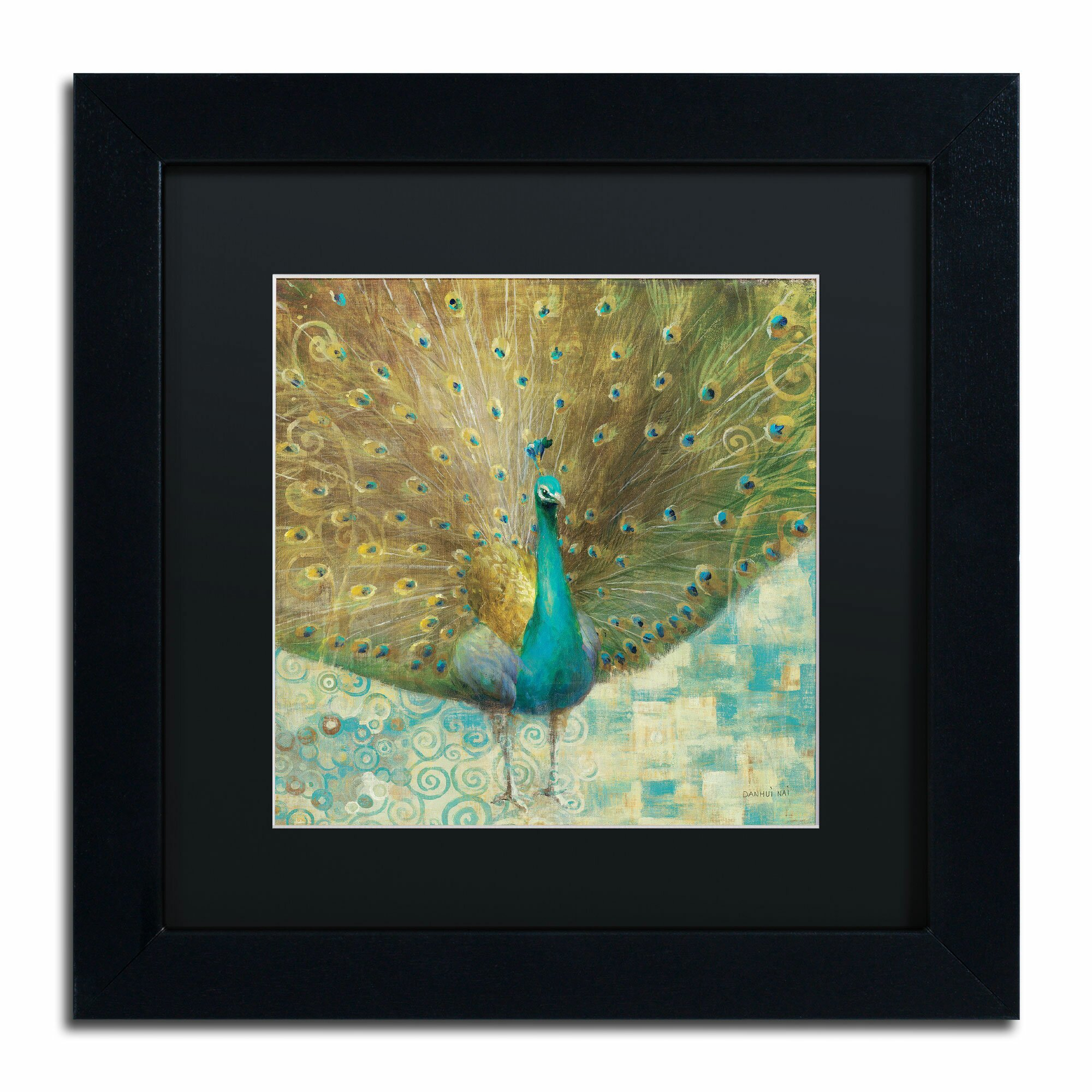 trademark art 39 teal peacock on gold 39 by danhui nai framed. Black Bedroom Furniture Sets. Home Design Ideas